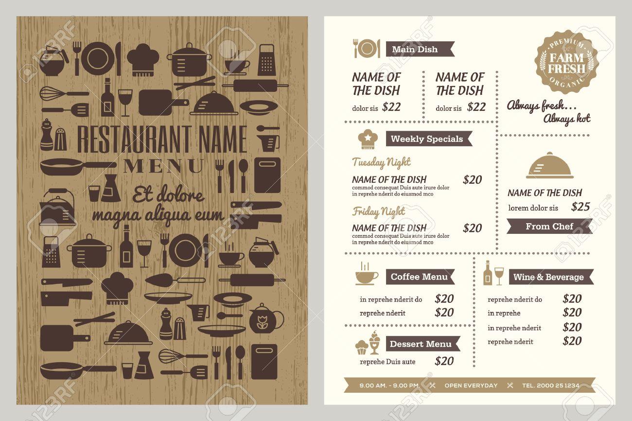 restaurant menu design template with silhouette kitchen utensils