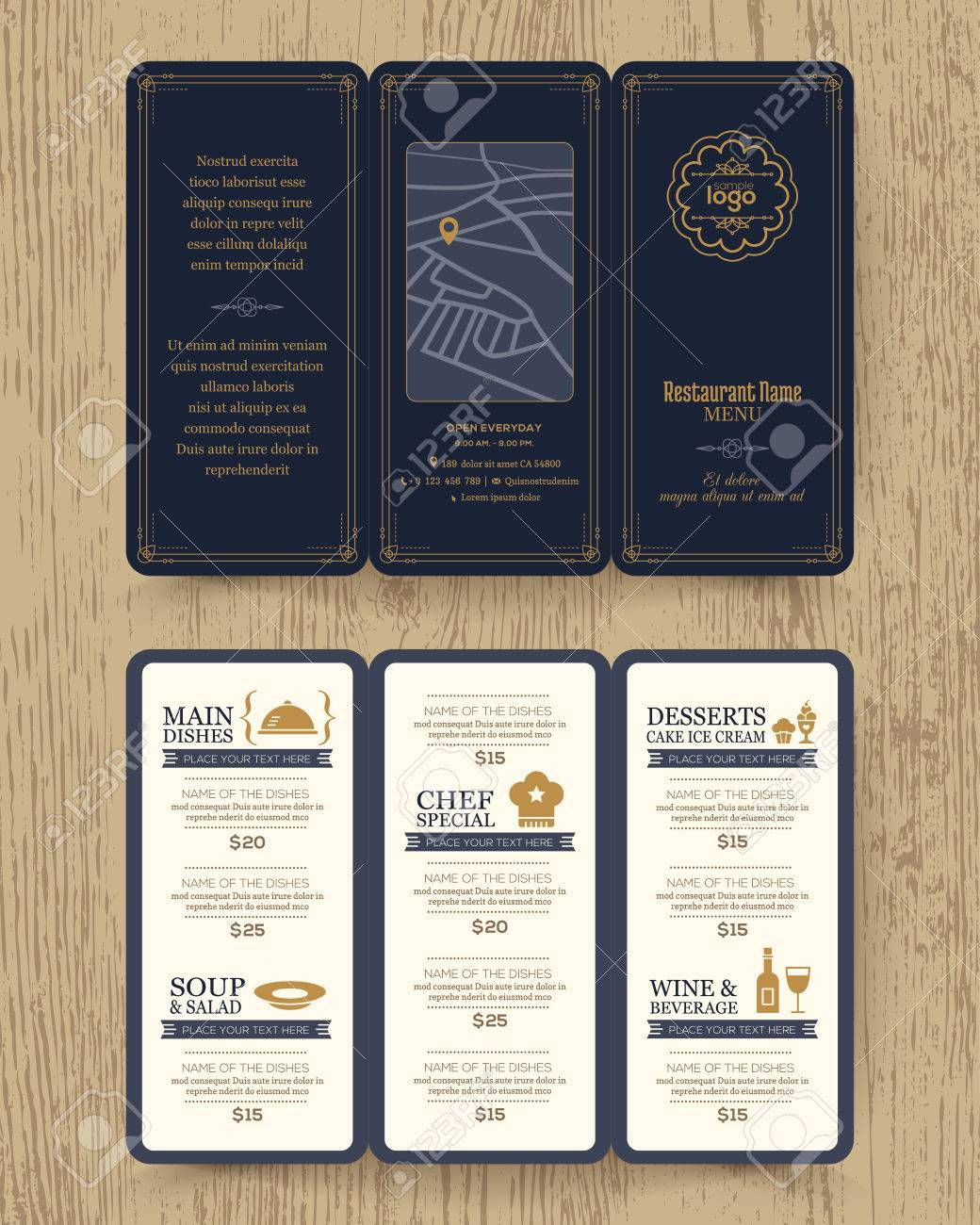 vintage restaurant menu design pamphlet vector template in a4