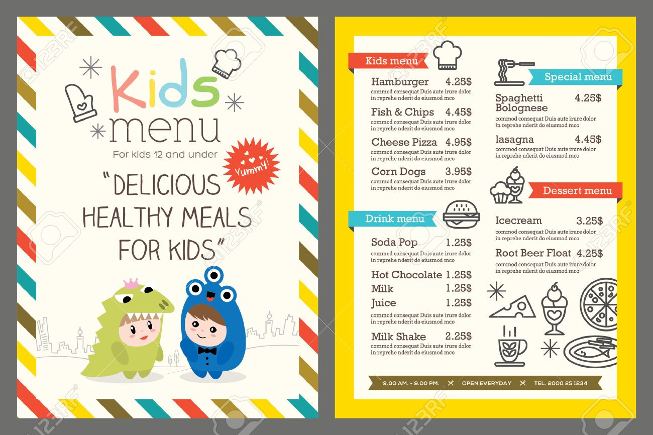 cute colorful kids meal menu template royalty free cliparts vectors