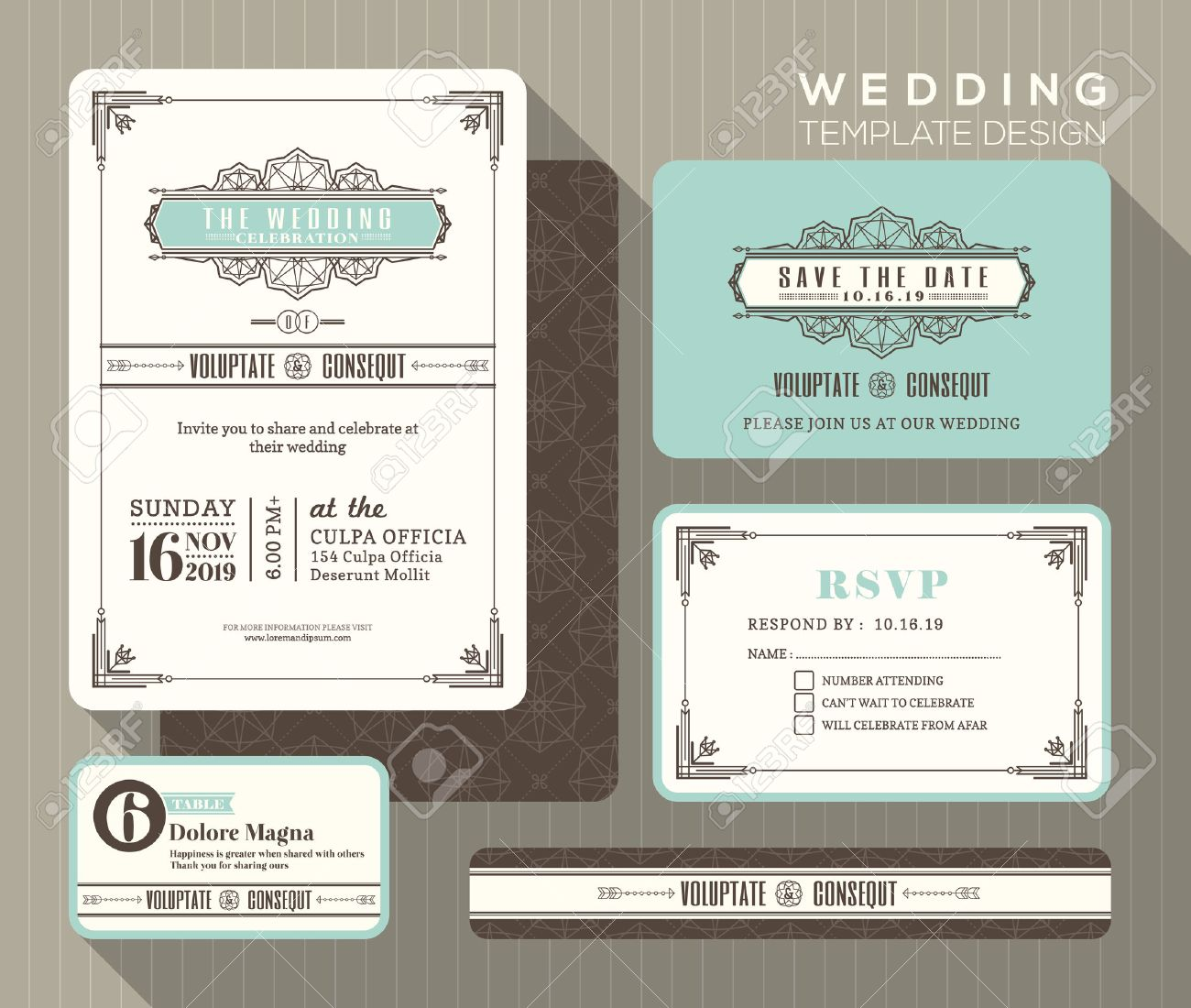vector vintage art deco wedding invitation set design template place card response card save the date card