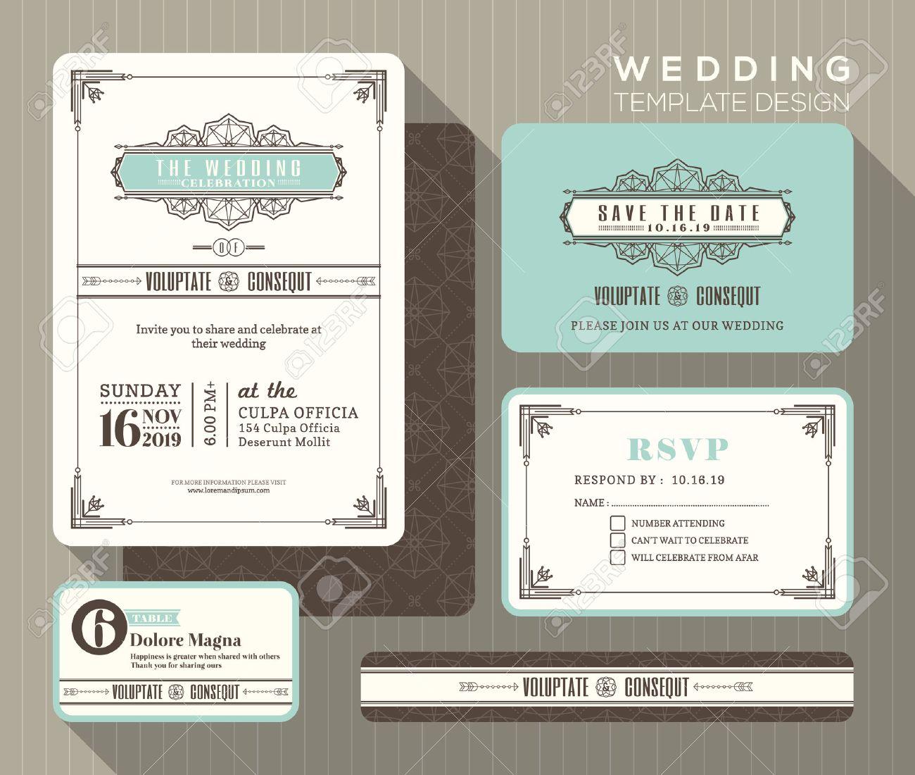 vintage art deco wedding invitation set design template place