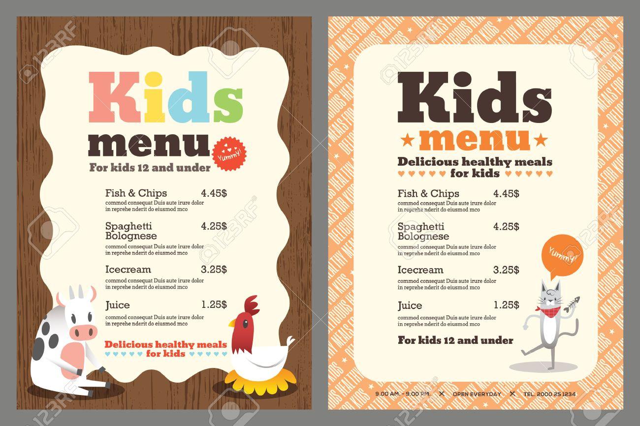 6,835 Kids Menu Stock Vector Illustration And Royalty Free Kids ...