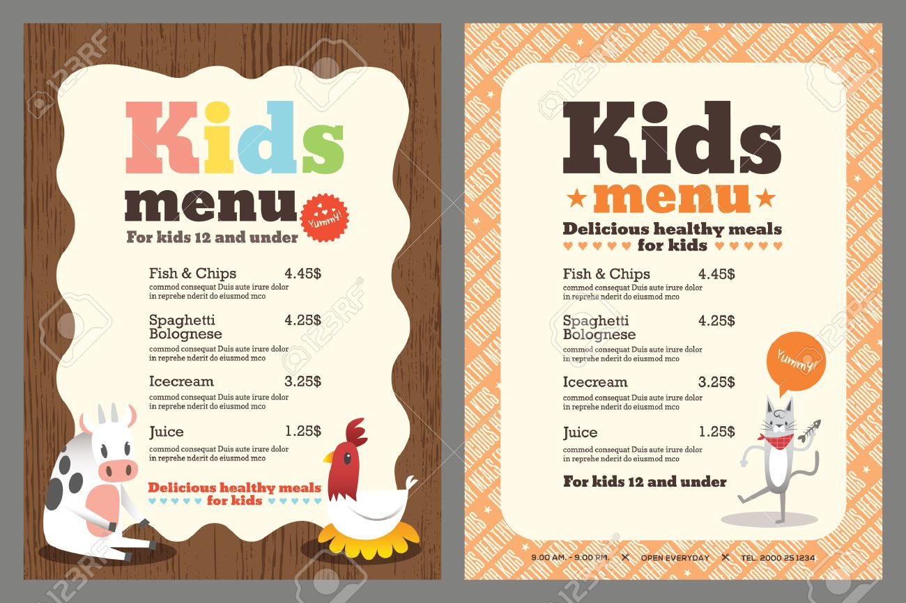 Cute Colorful Kids Meal Menu Template With Animals Cartoon Royalty ...