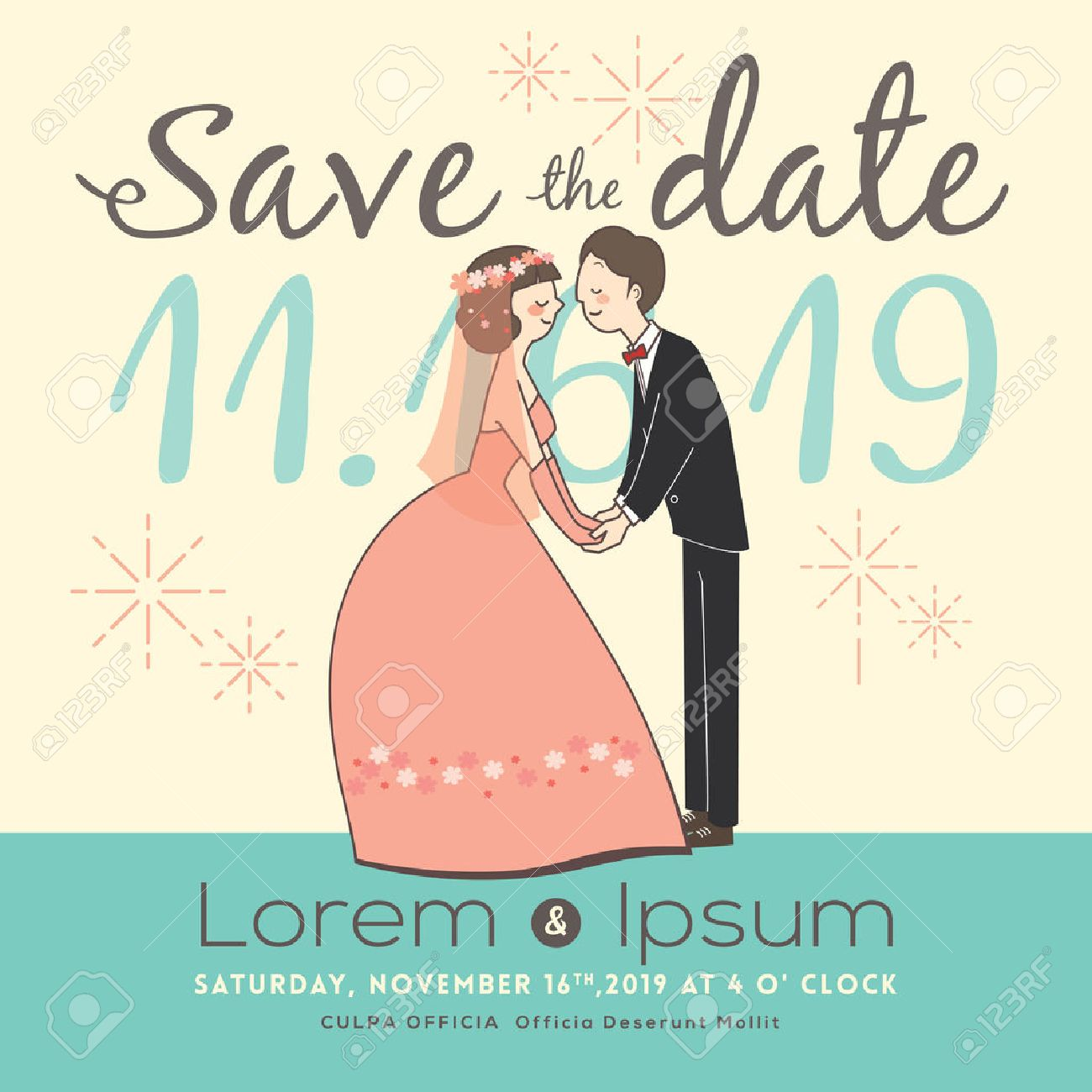 Cute Groom And Bride Cartoon Save The Date Wedding Invitation – Save the Date Wedding Invite