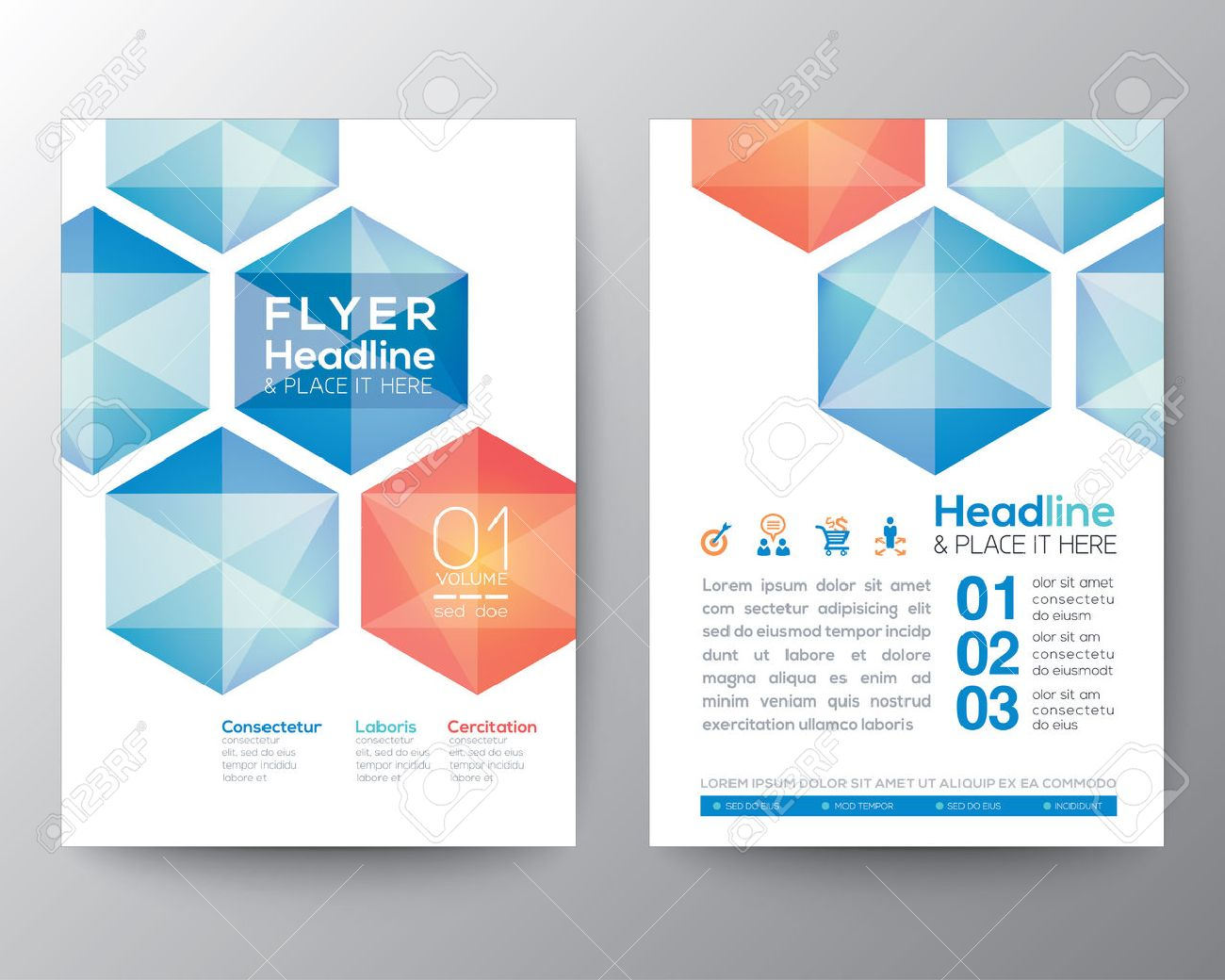 abstract hexagon poster brochure flyer design layout vector template in a4 size stock vector 44096156