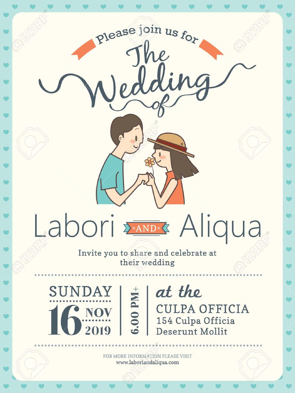Hochzeitseinladungskarte Vorlage Mit Niedlichen Braut Und Brautigam