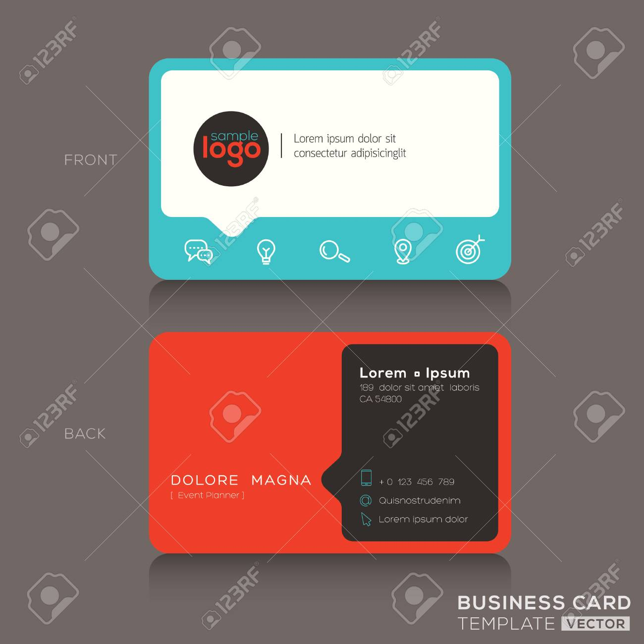 Modern Trendy Business Card Design Template Royalty Free Cliparts ...