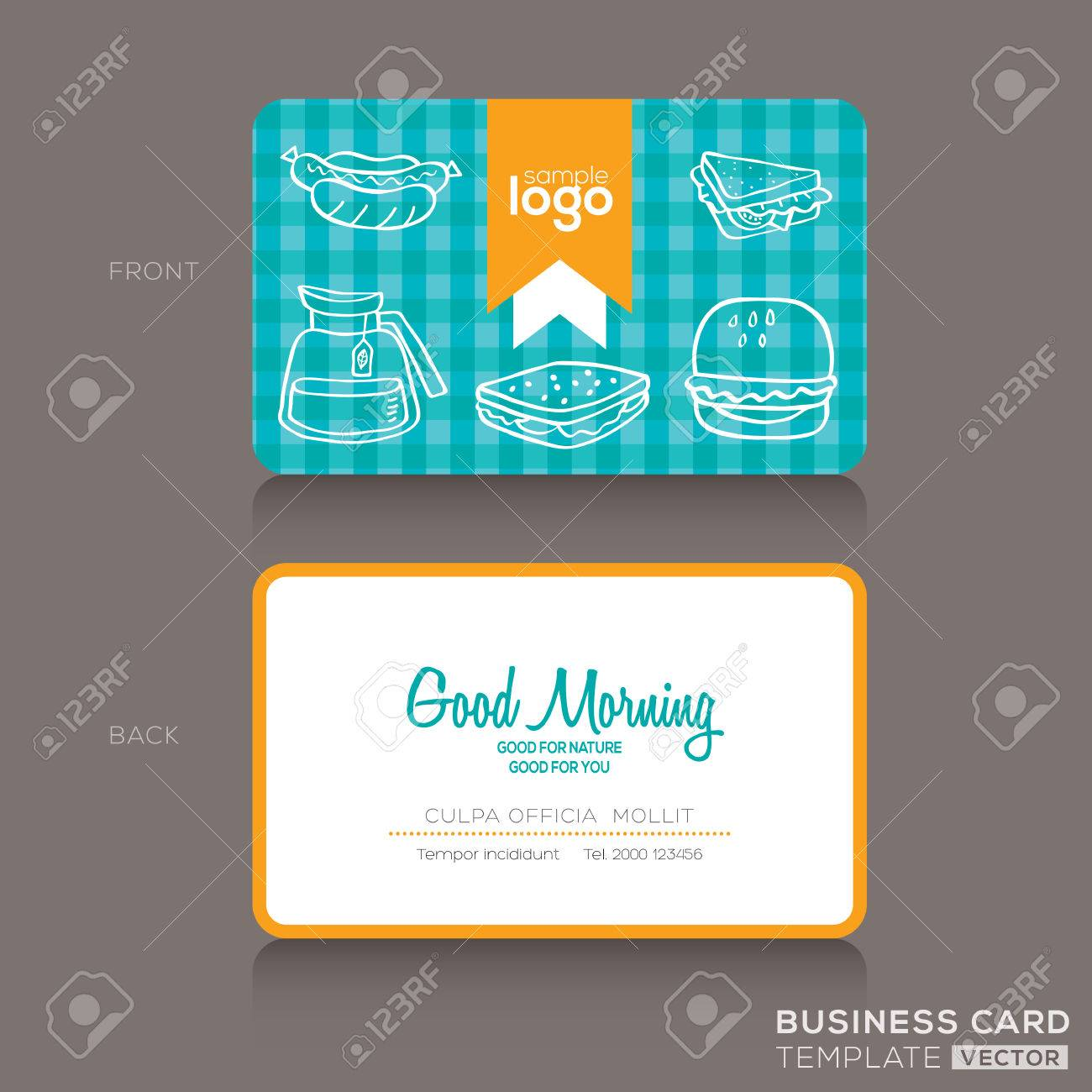 Business Cards Design Template For Bakery Shop Or Cafe Royalty ...