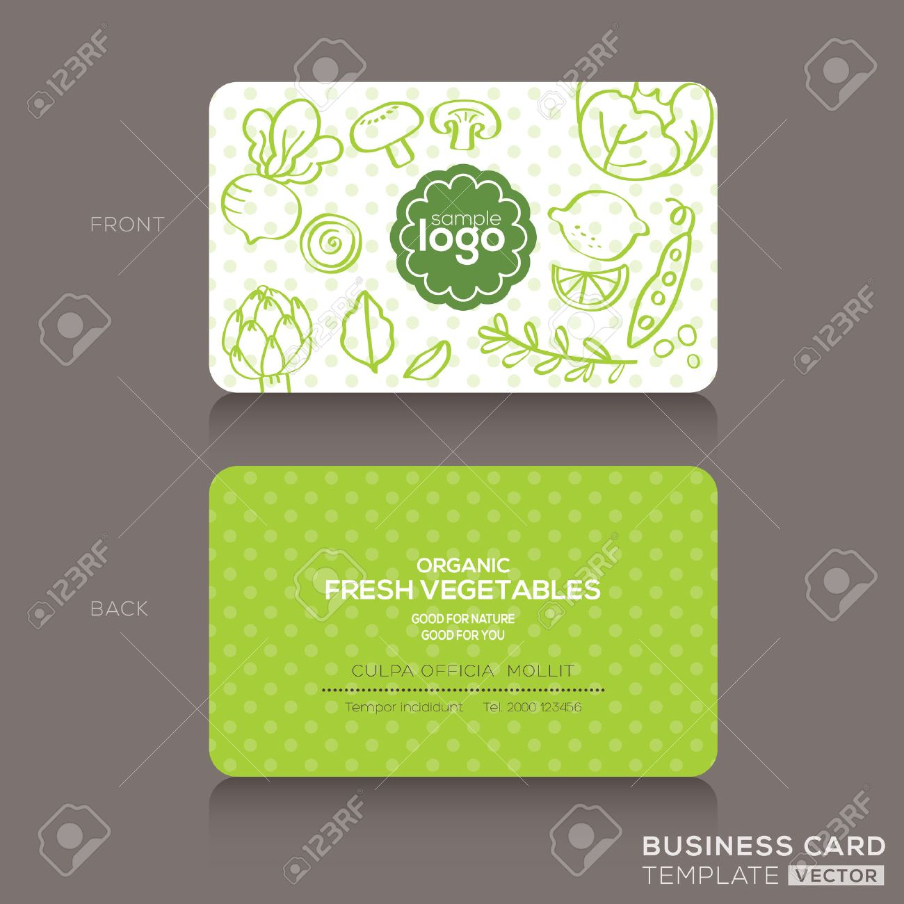 Organic foods shop or vegan cafe business card design template organic foods shop or vegan cafe business card design template with vegetables and fruits doodle background reheart