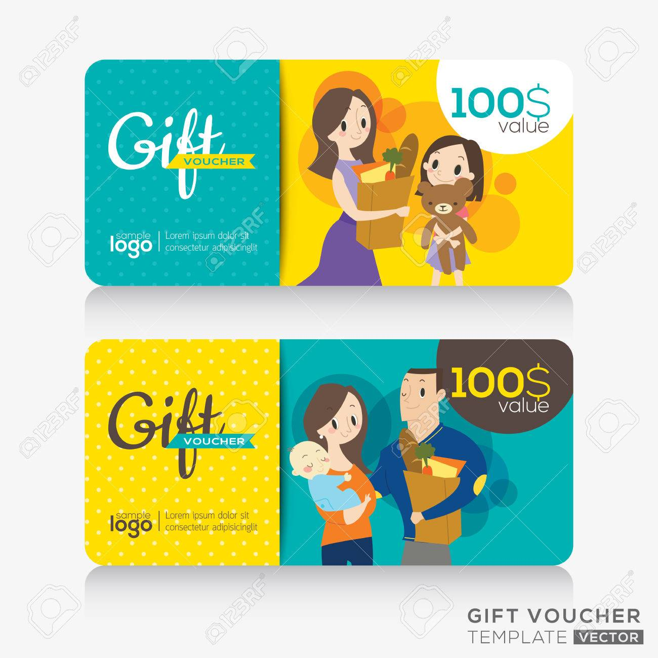 Supermarket Coupon Voucher Or Gift Card Design Template With ...