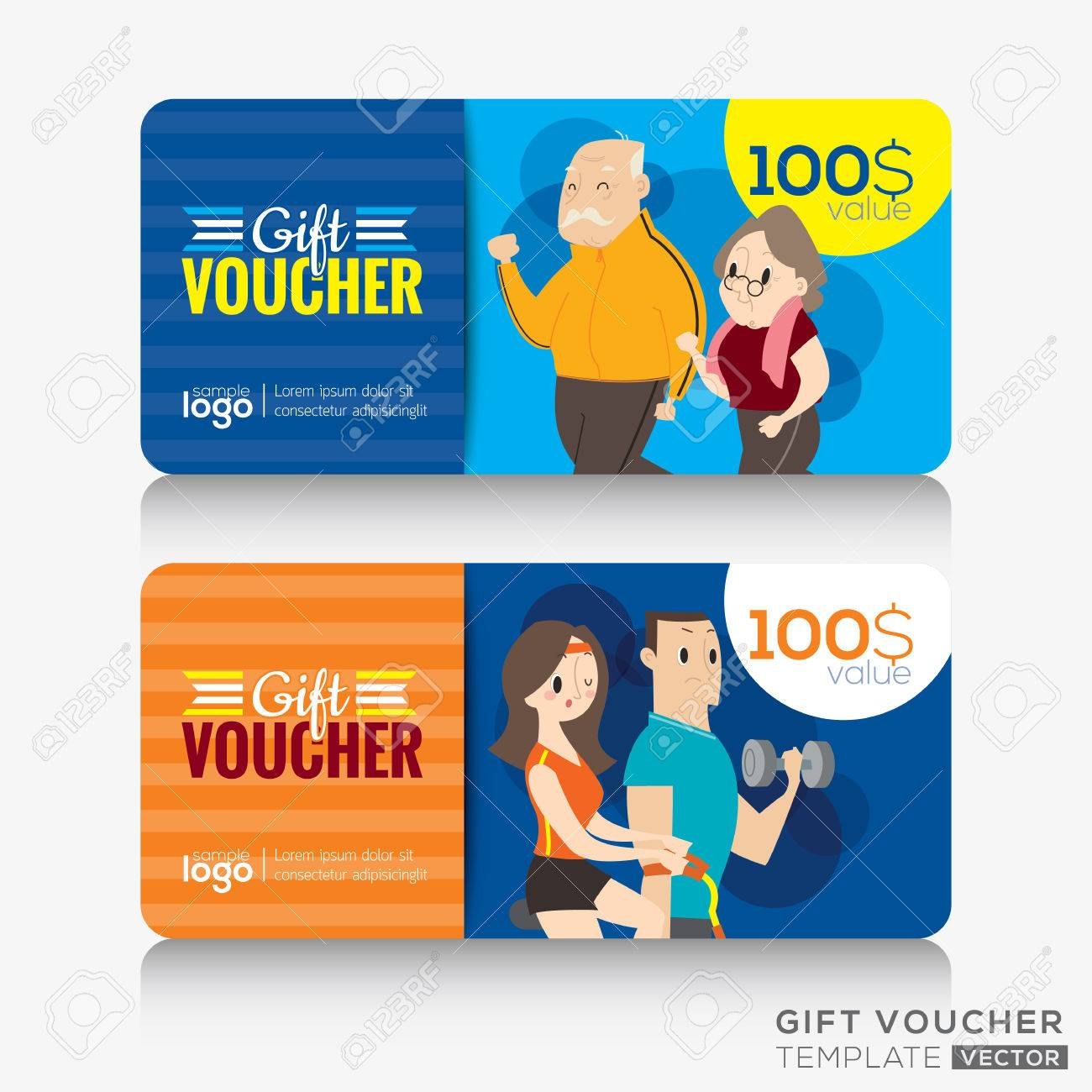 Fitness center gym coupon voucher or gift card design template fitness center gym coupon voucher or gift card design template with illustration of adult and senior yadclub Gallery