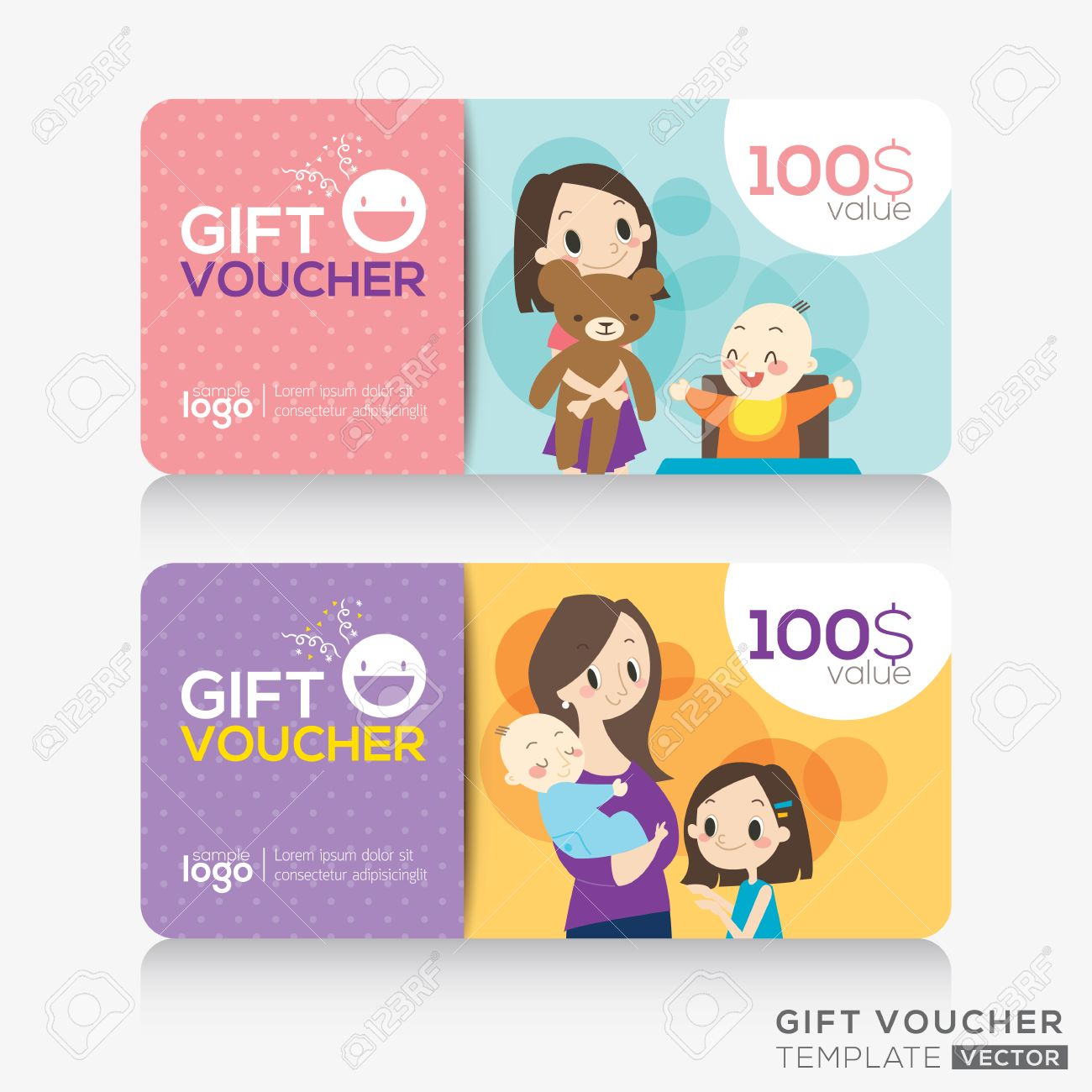 Kids Store Coupon Voucher Or Gift Card Design Template With