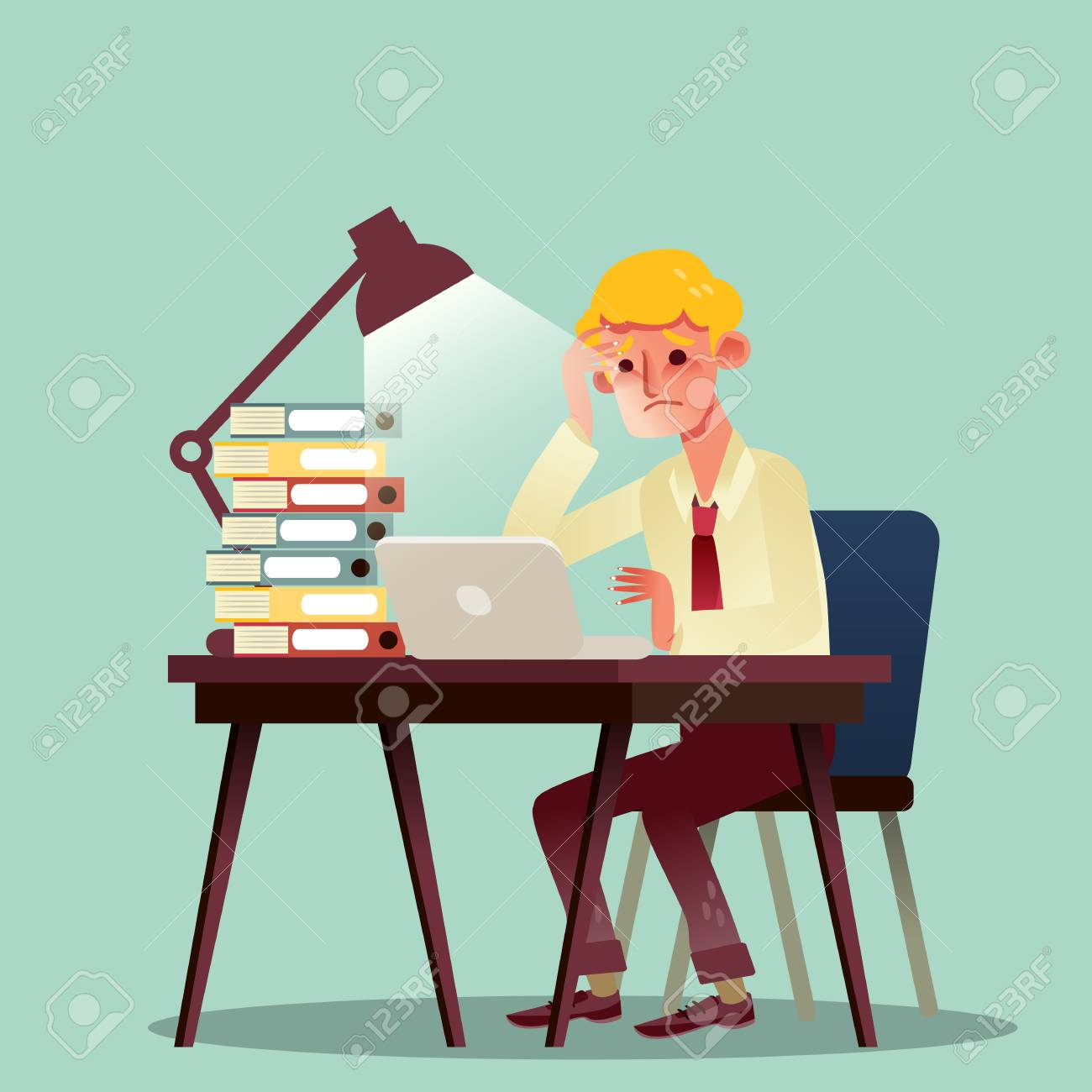 Hard Working Business Man With Pile Of Work On Desk Vector Cartoon