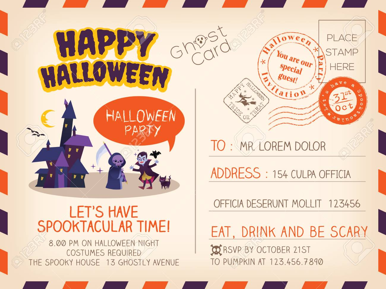 Happy Halloween Party Vintage Postcard Invitation Background ...