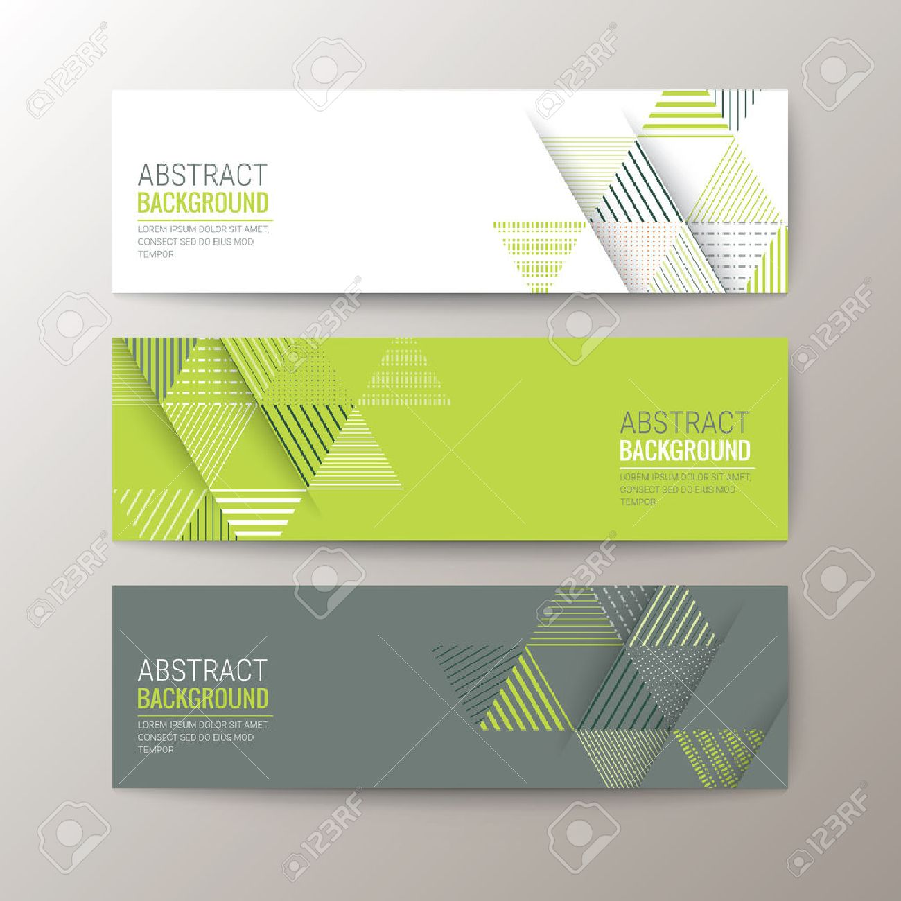 Set of modern design banners template with abstract triangle pattern background - 46809545