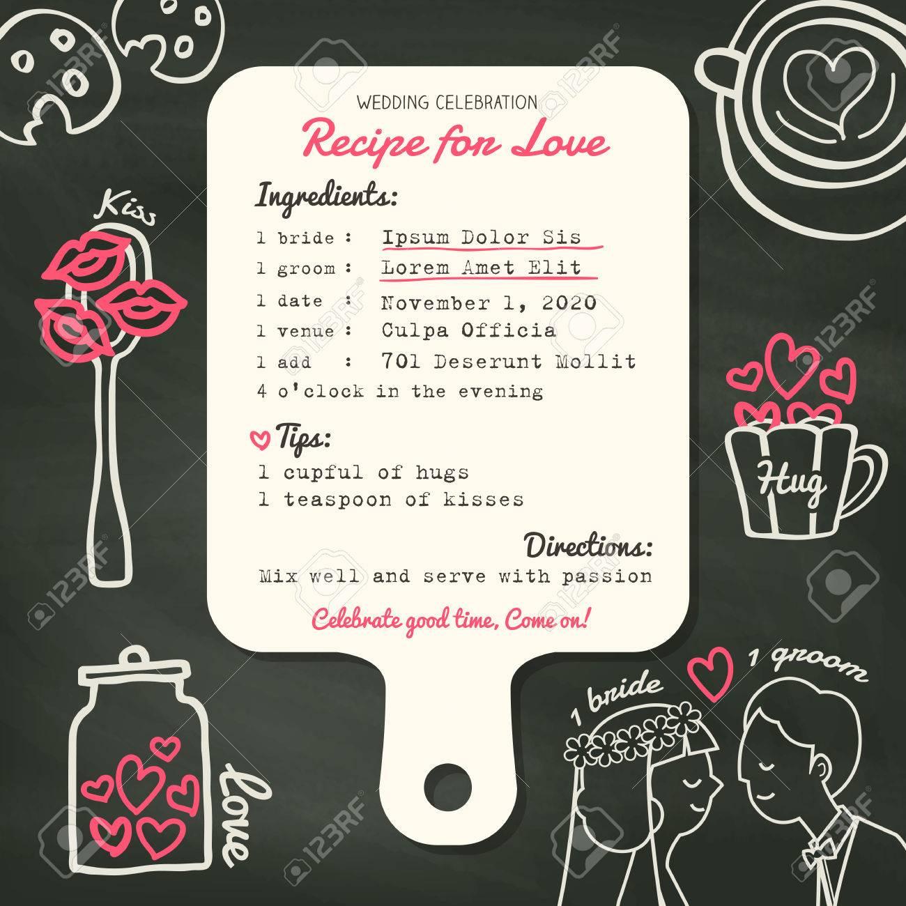Rezeptkarte Kreative Hochzeit Einladung Design Vorlage Mit Kochkonzept  Lizenzfreie Bilder   47210561
