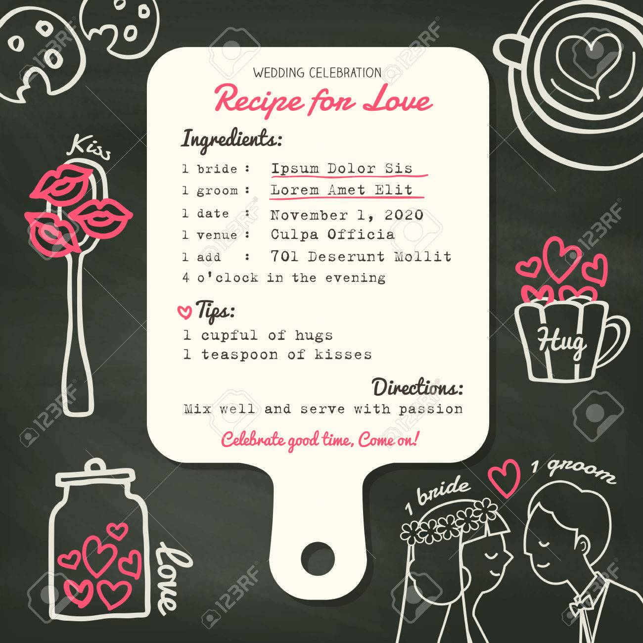 Recipe card creative wedding invitation design template with cooking banco de imagens recipe card creative wedding invitation design template with cooking concept stopboris Gallery