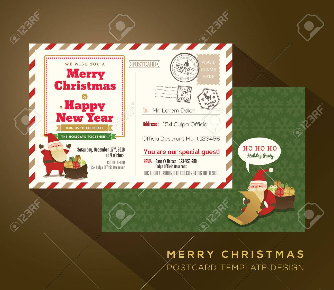 Christmas And Happy New Year Holiday Airmail Postcard Background