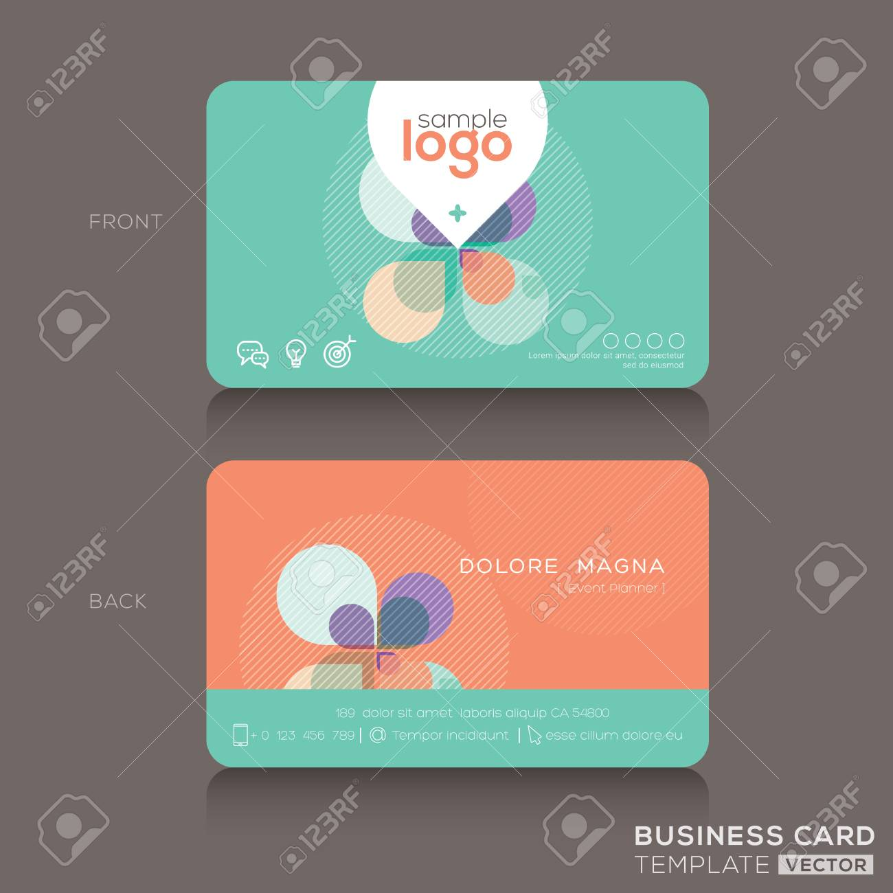 Modern Trendy Colorful Business Card Design Template Royalty Free ...