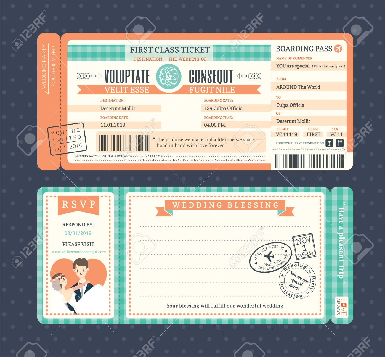 Pastel Retro Boarding Pass Ticket Wedding Invitation Template ...