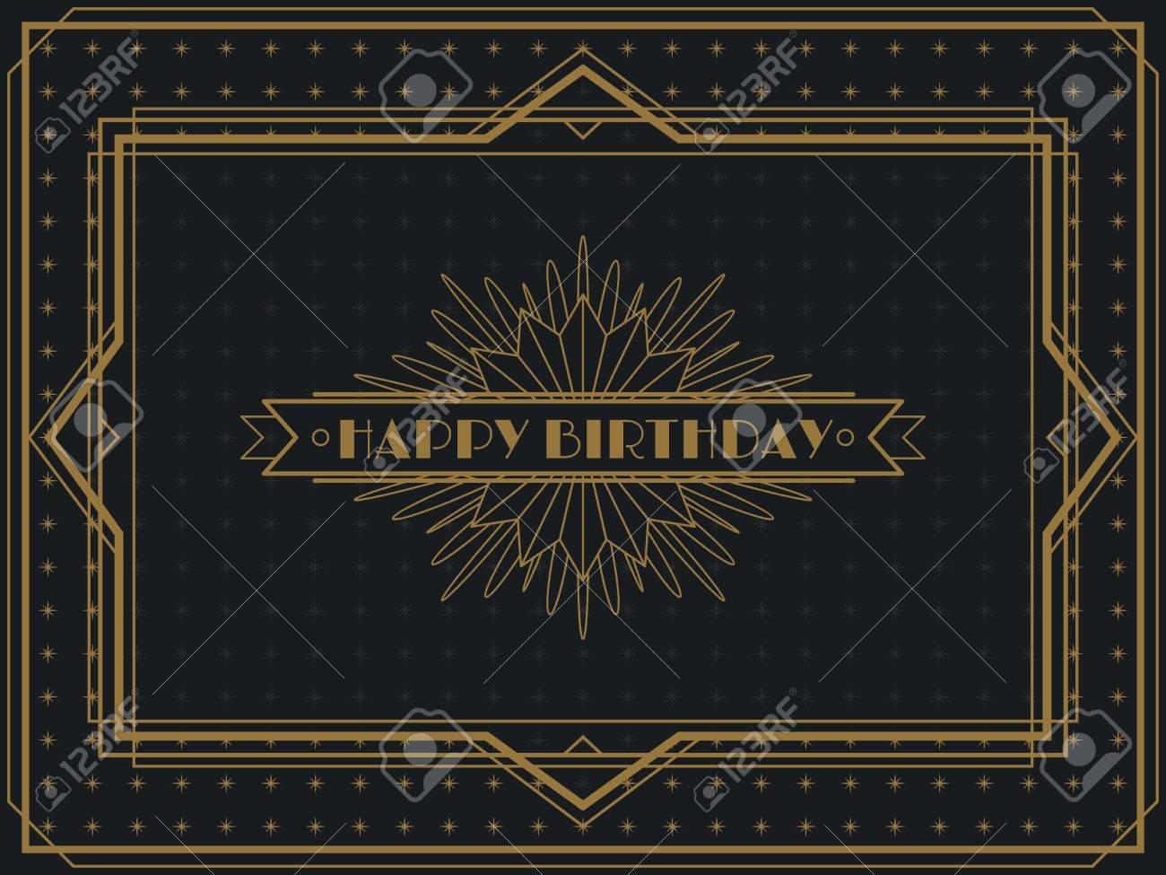 Vintage Art Deco Happy Birthday card frame design template - 50146371