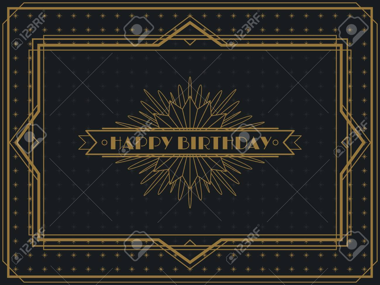 Vector vintage art deco happy birthday card frame design template