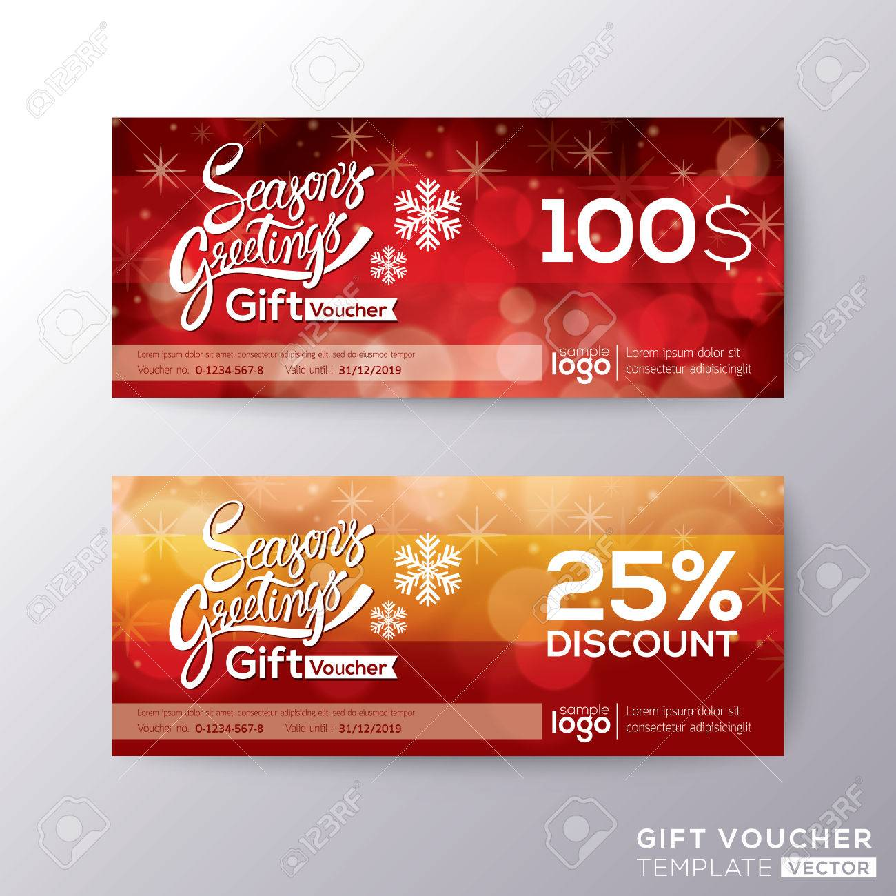 Season greeting holiday gift certificate voucher coupon card background template - 50146372