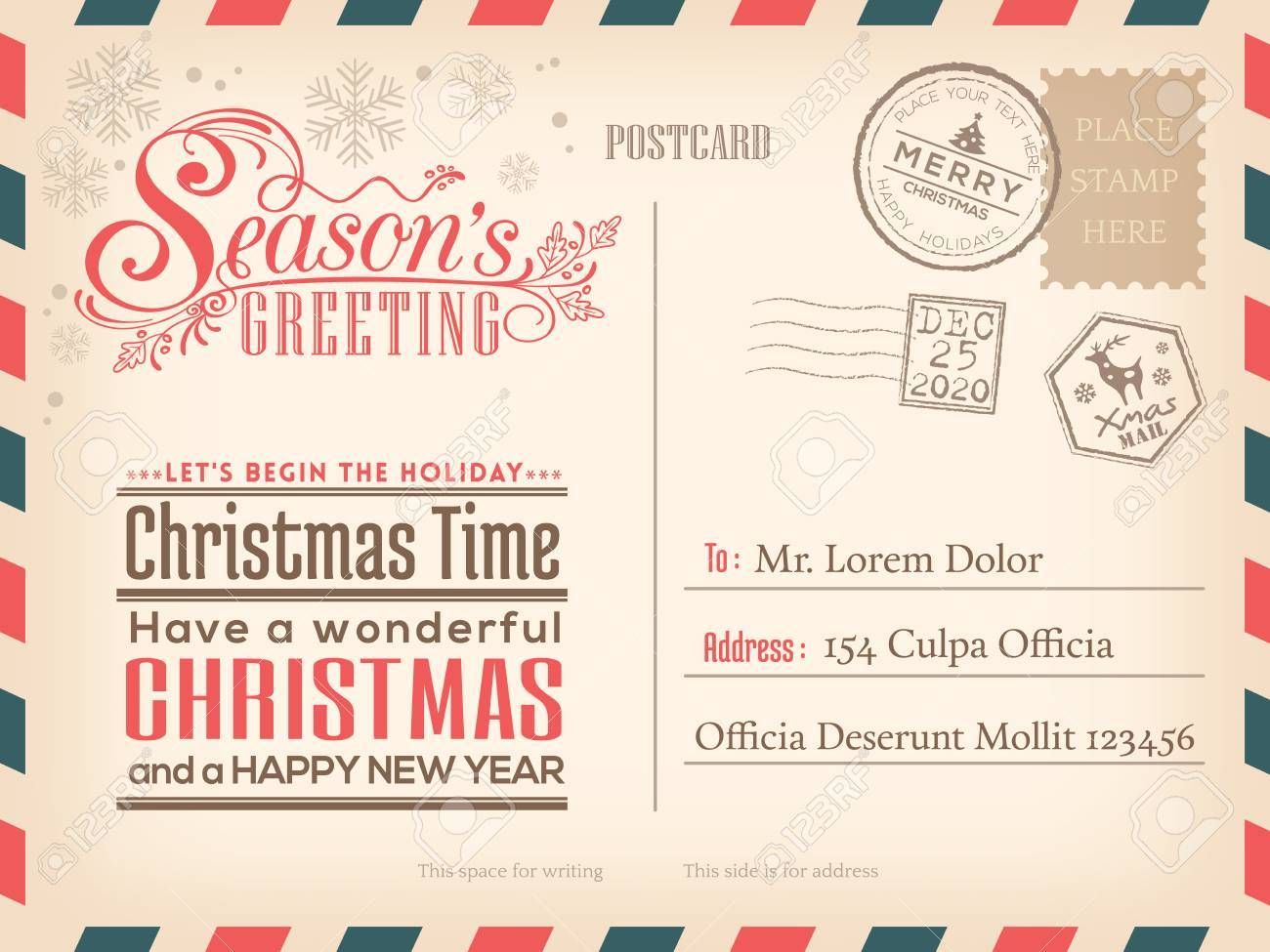 Vintage Christmas and Happy New year holiday postcard background for party invitation card - 50146377