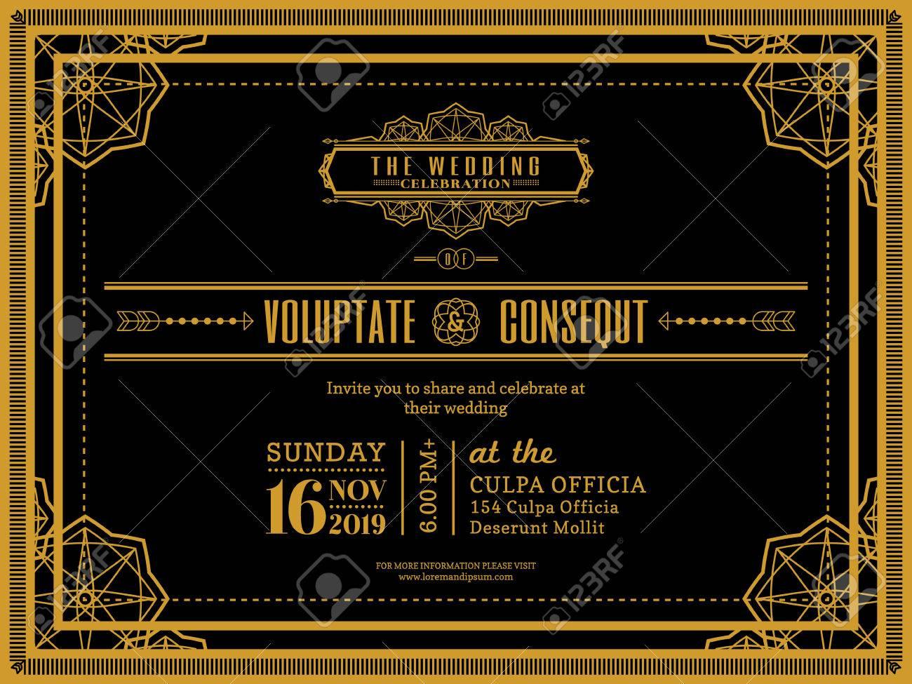 Vintage Wedding invitation card border and frame design template - 50150435