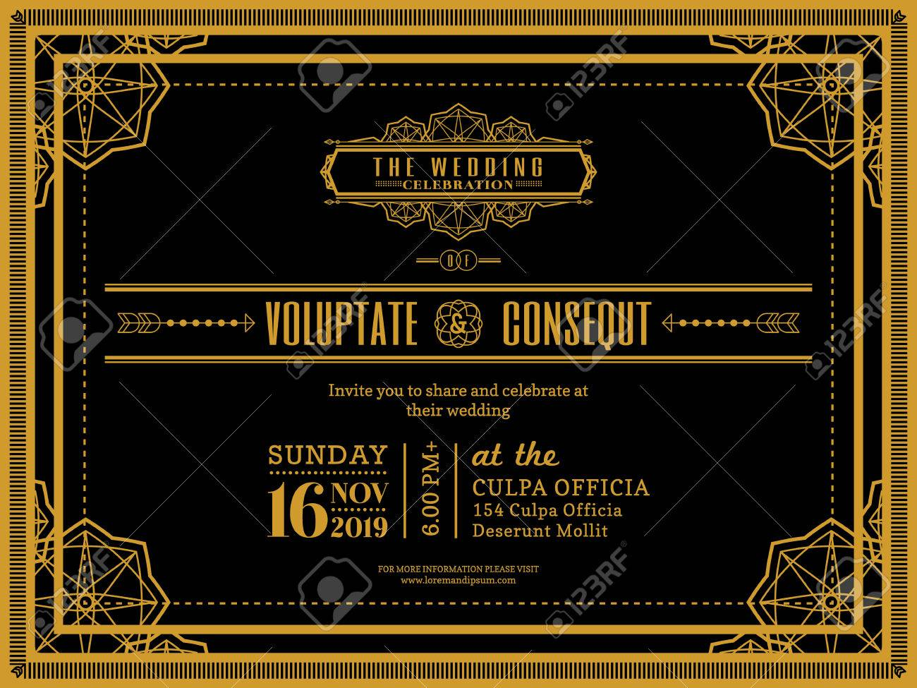Vintage Wedding Invitation Card Border And Frame Design Template – Invitation Card Border Design