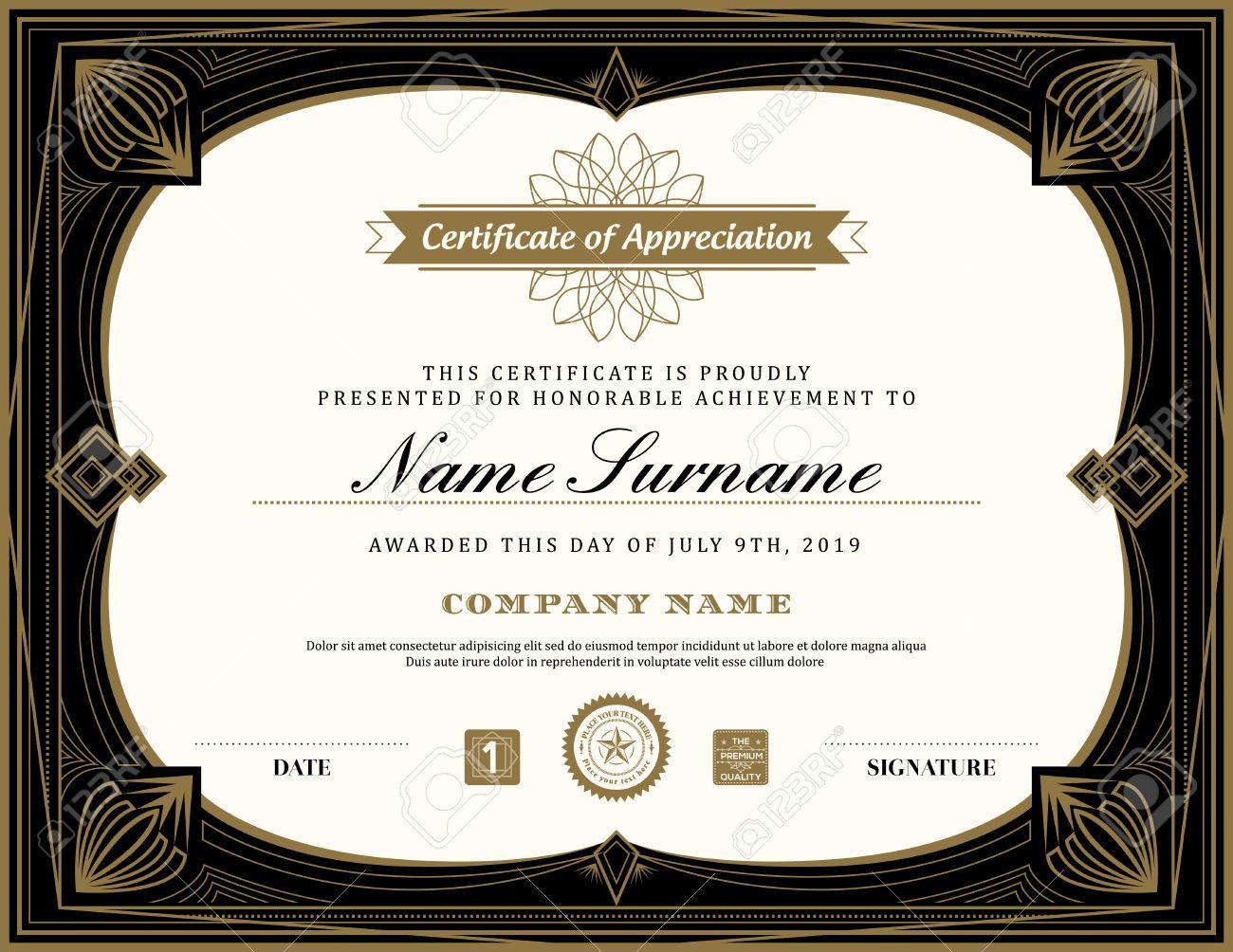 Vintage retro art deco frame certificate background design vintage retro art deco frame certificate background design template stock vector 50152237 yadclub Gallery