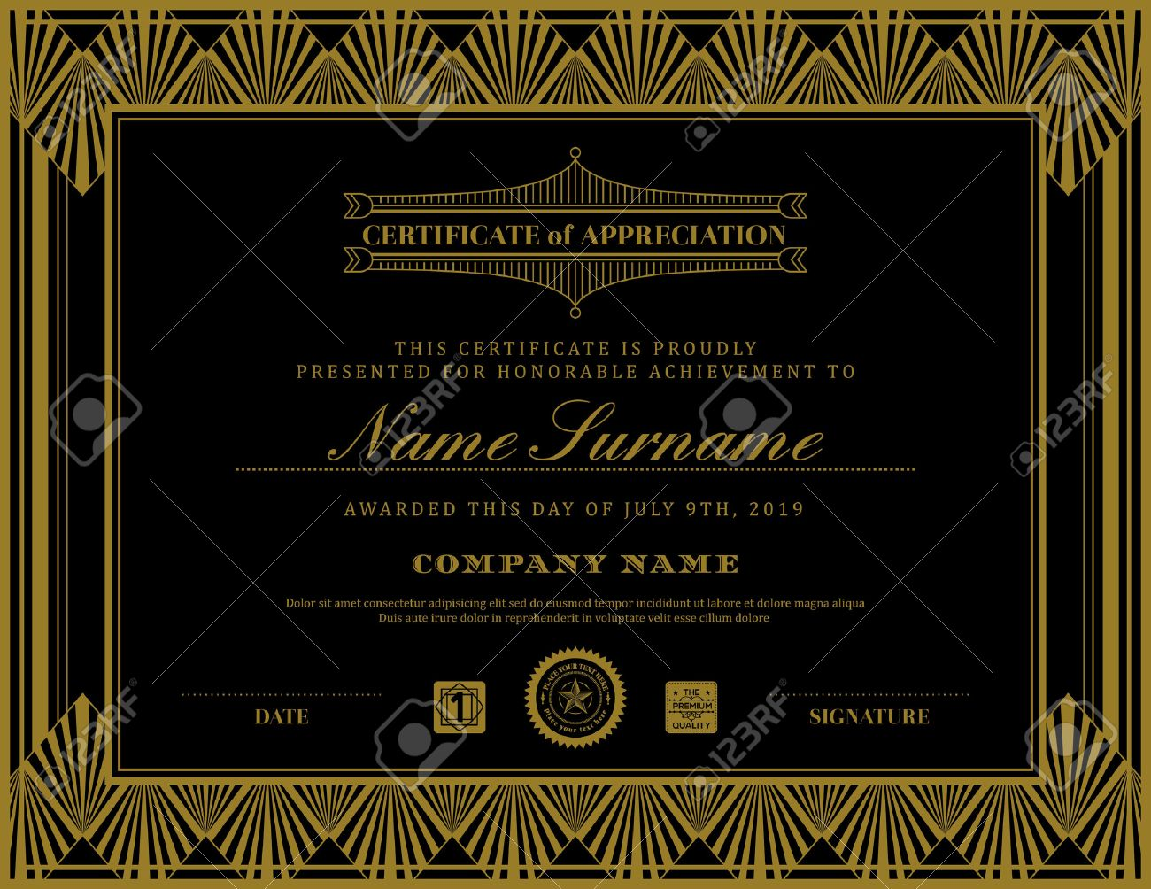 Vintage retro art deco frame certificate background design template - 50155141