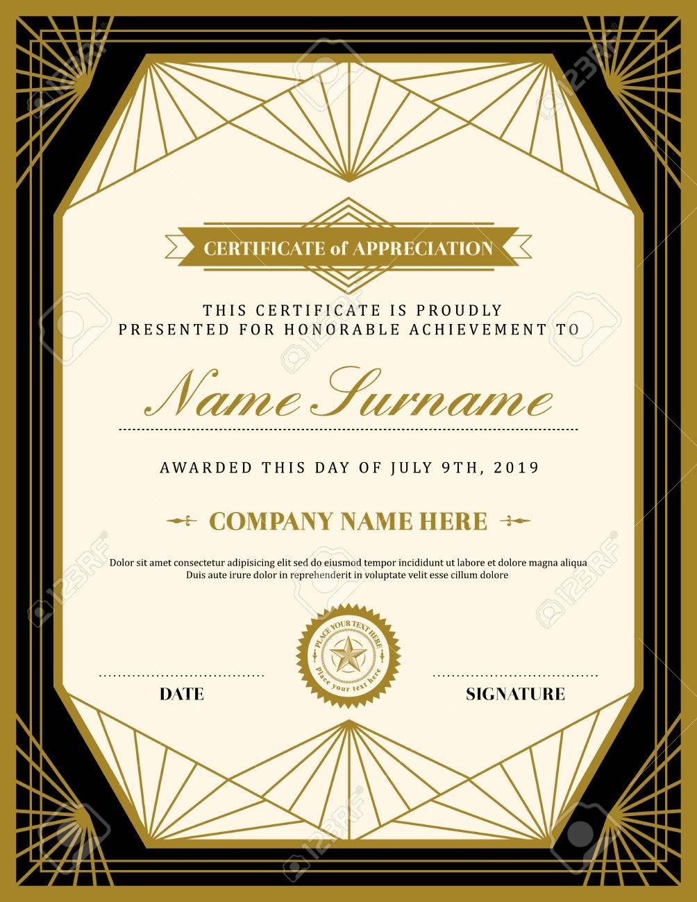 Vintage retro art deco frame certificate background design template - 50155145