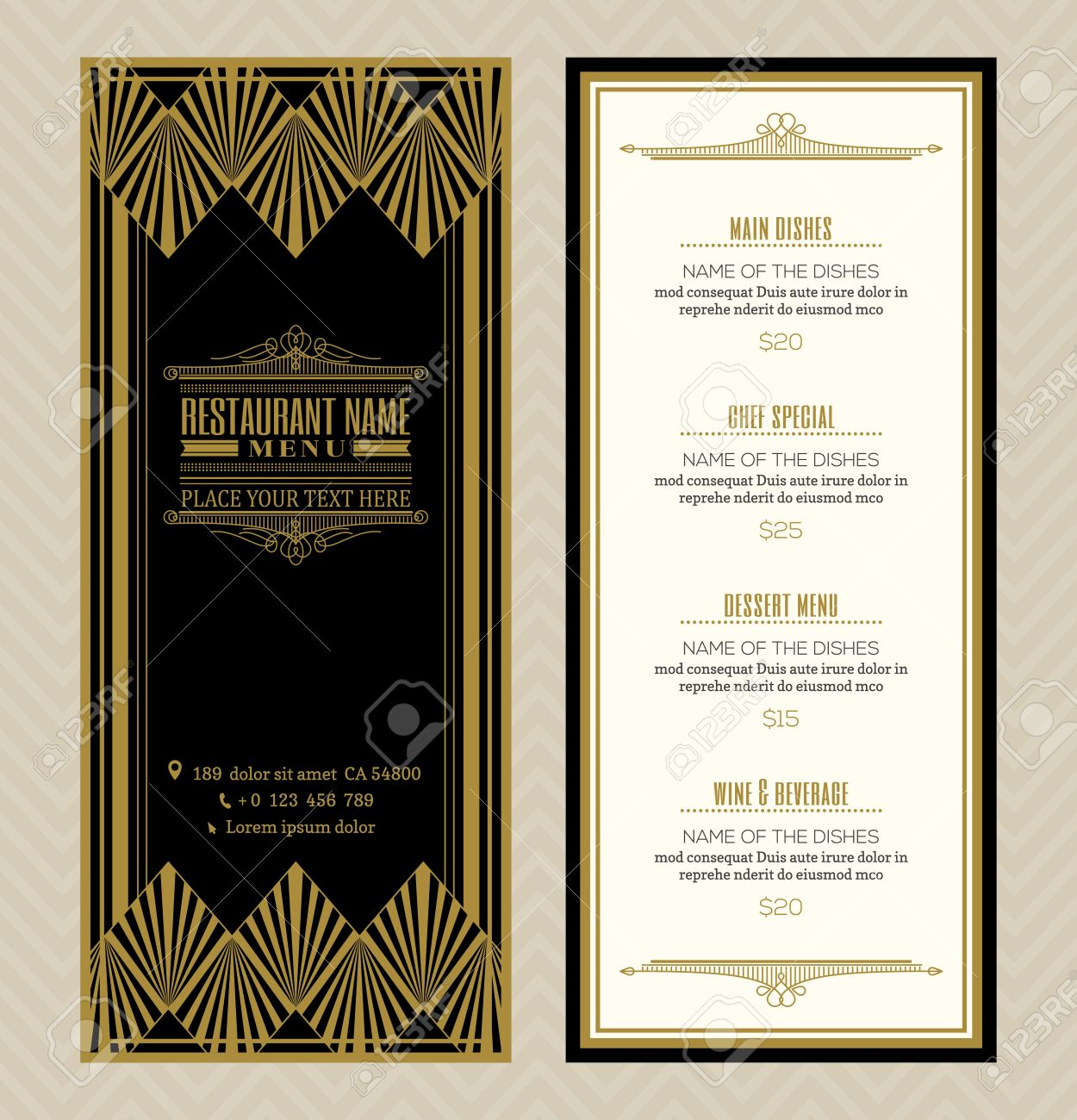 Menu Design Template | Restaurant Or Cafe Menu Design Template With Vintage Retro Art