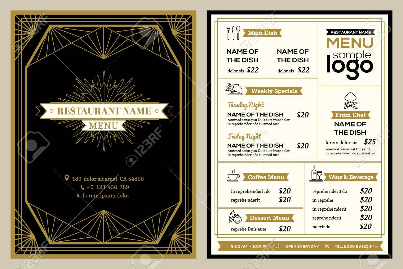 restaurant or cafe menu cover design template with vintage retro