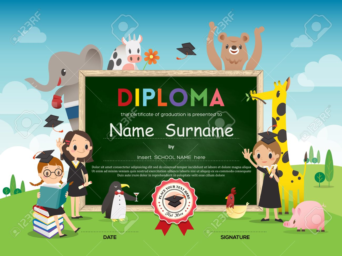 School Kids Diploma Certificate Template With Animal Cartoon ...