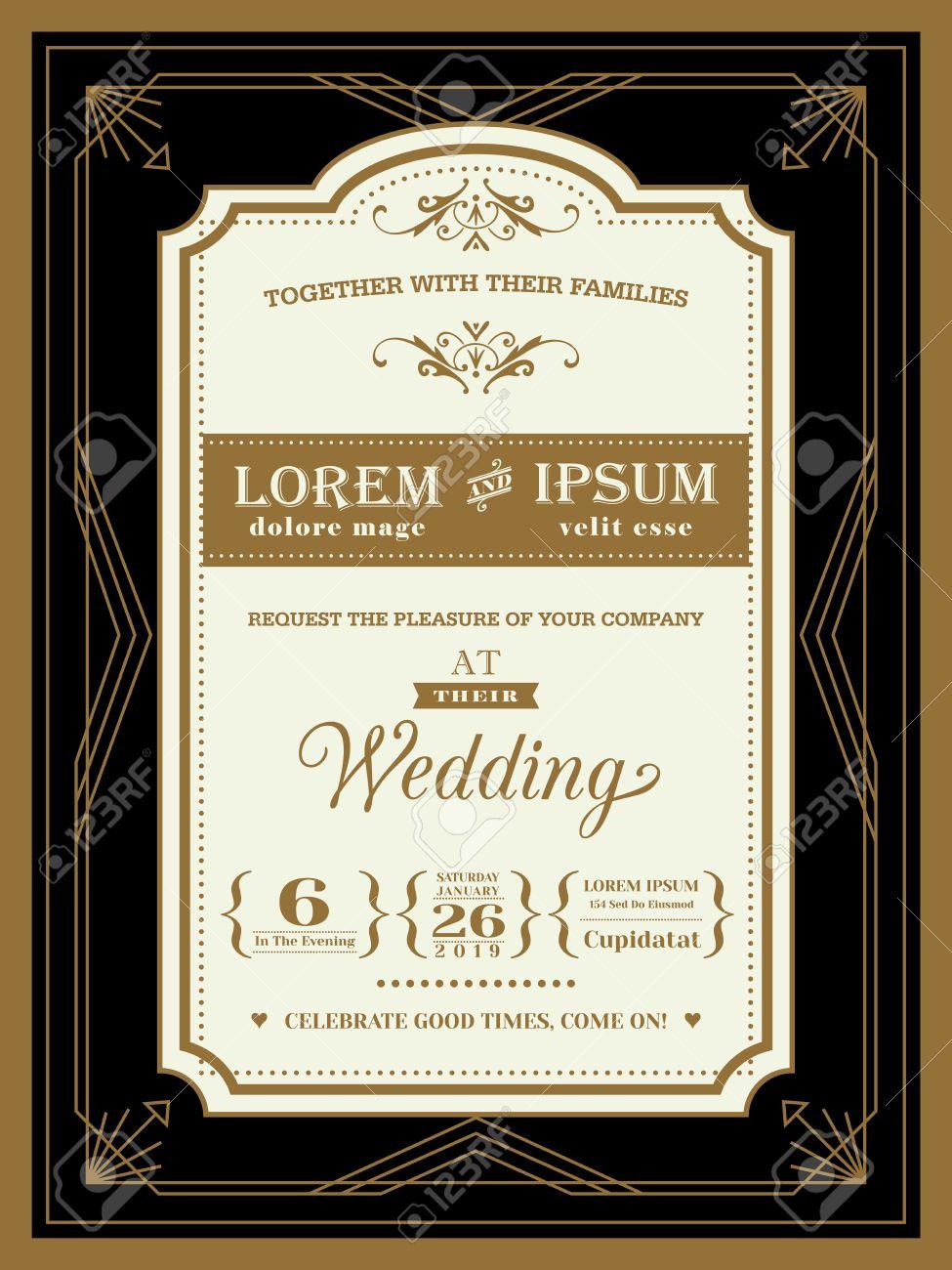 Vintage Wedding invitation border and frame template - 52125844