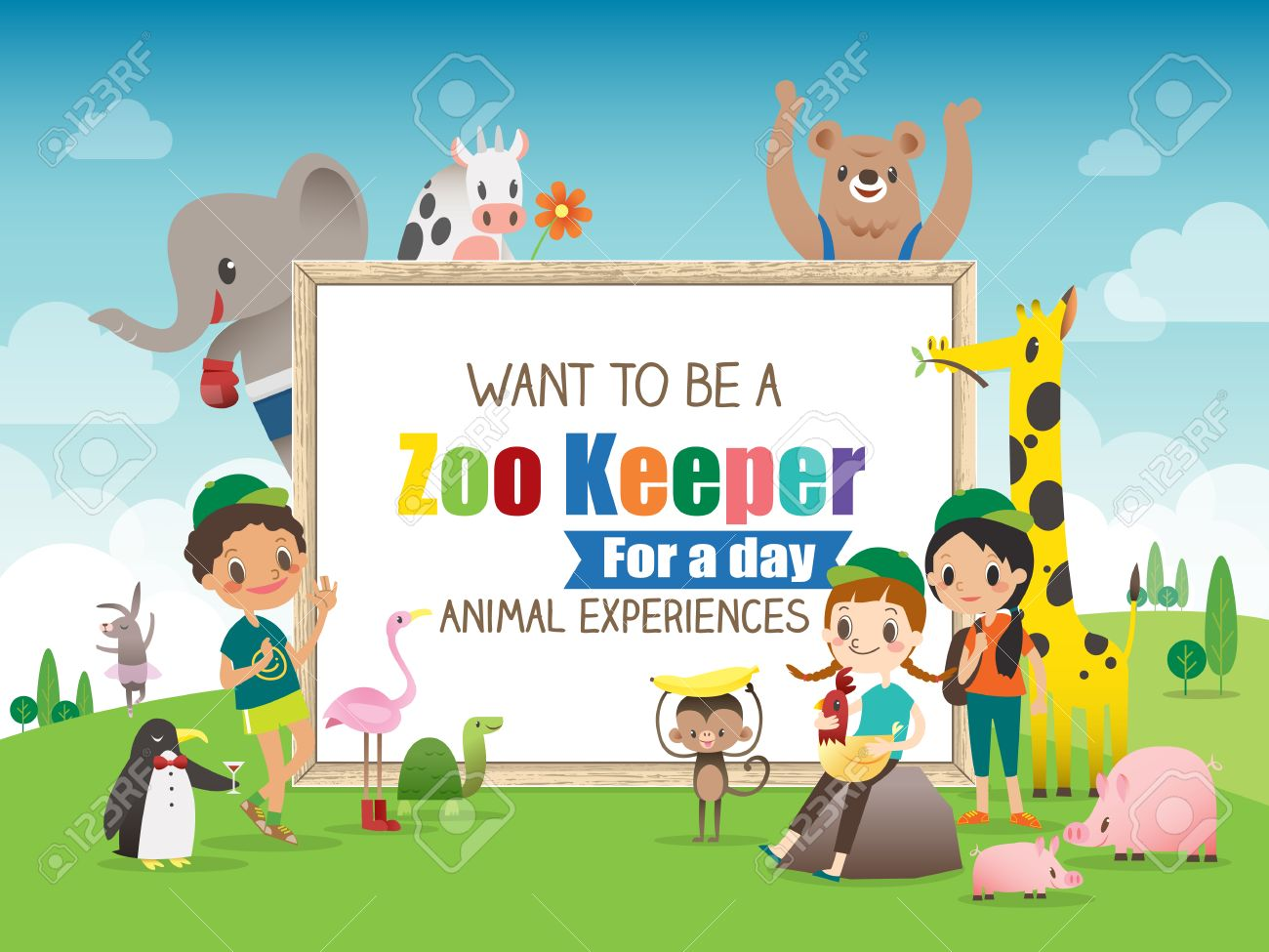 zoo keeper for a day children and animals cartoon frame border