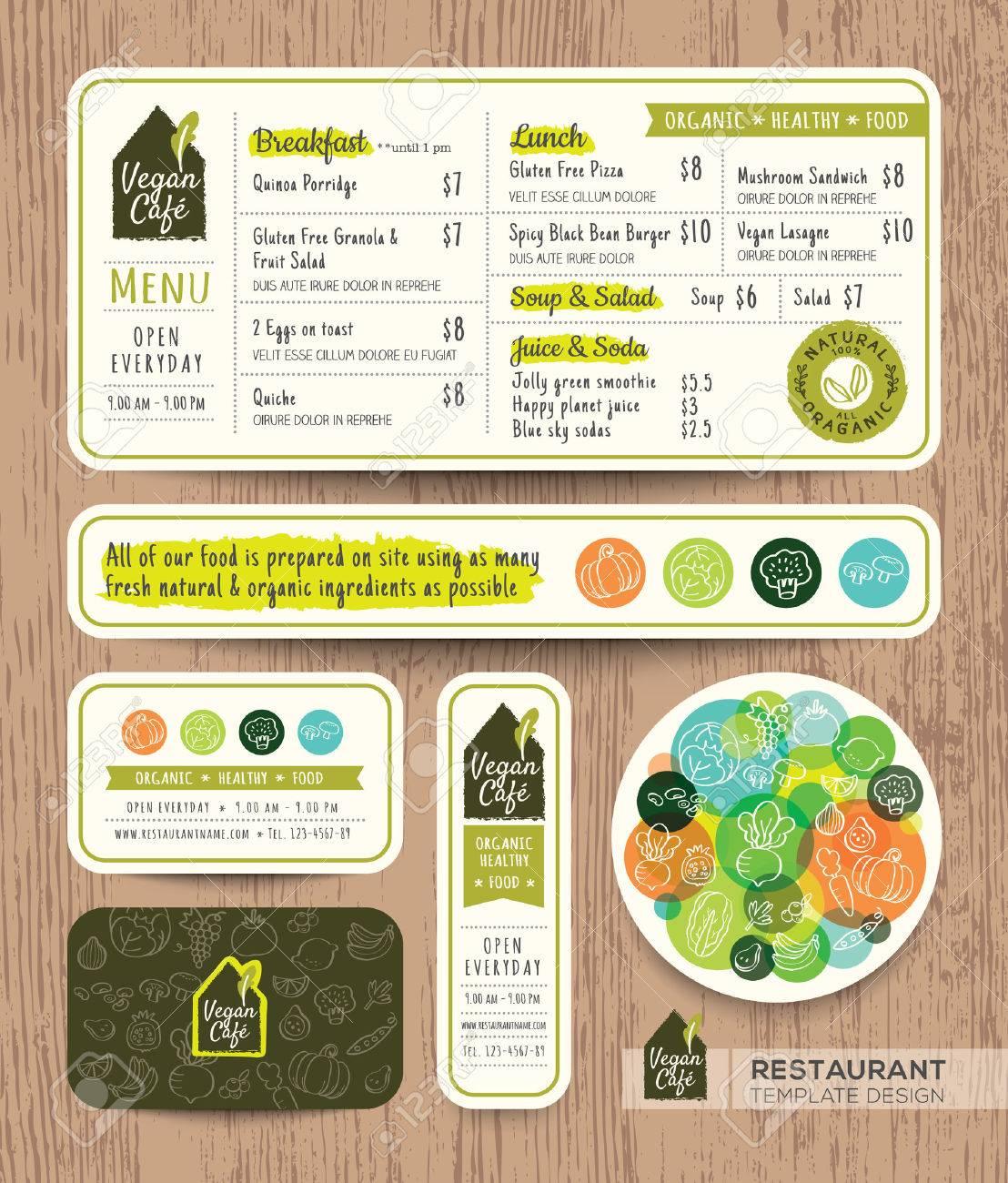 Vegetarian and vegan healthy restaurant cafe set menu graphic design template layout - 52125849