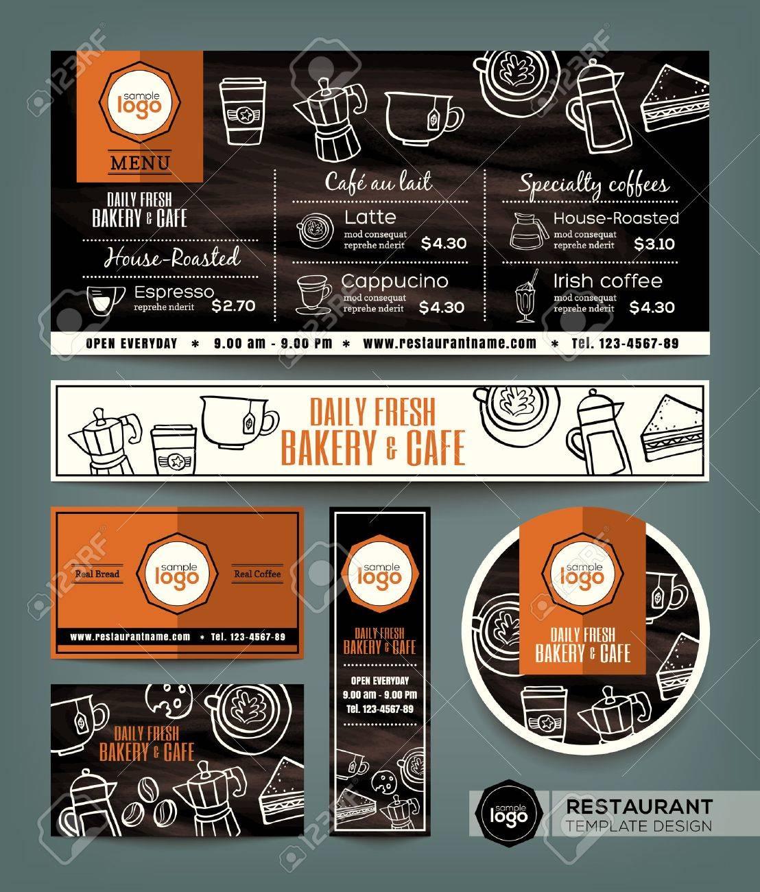 Coffee Bakery shop cafe set menu graphic design template - 52125851