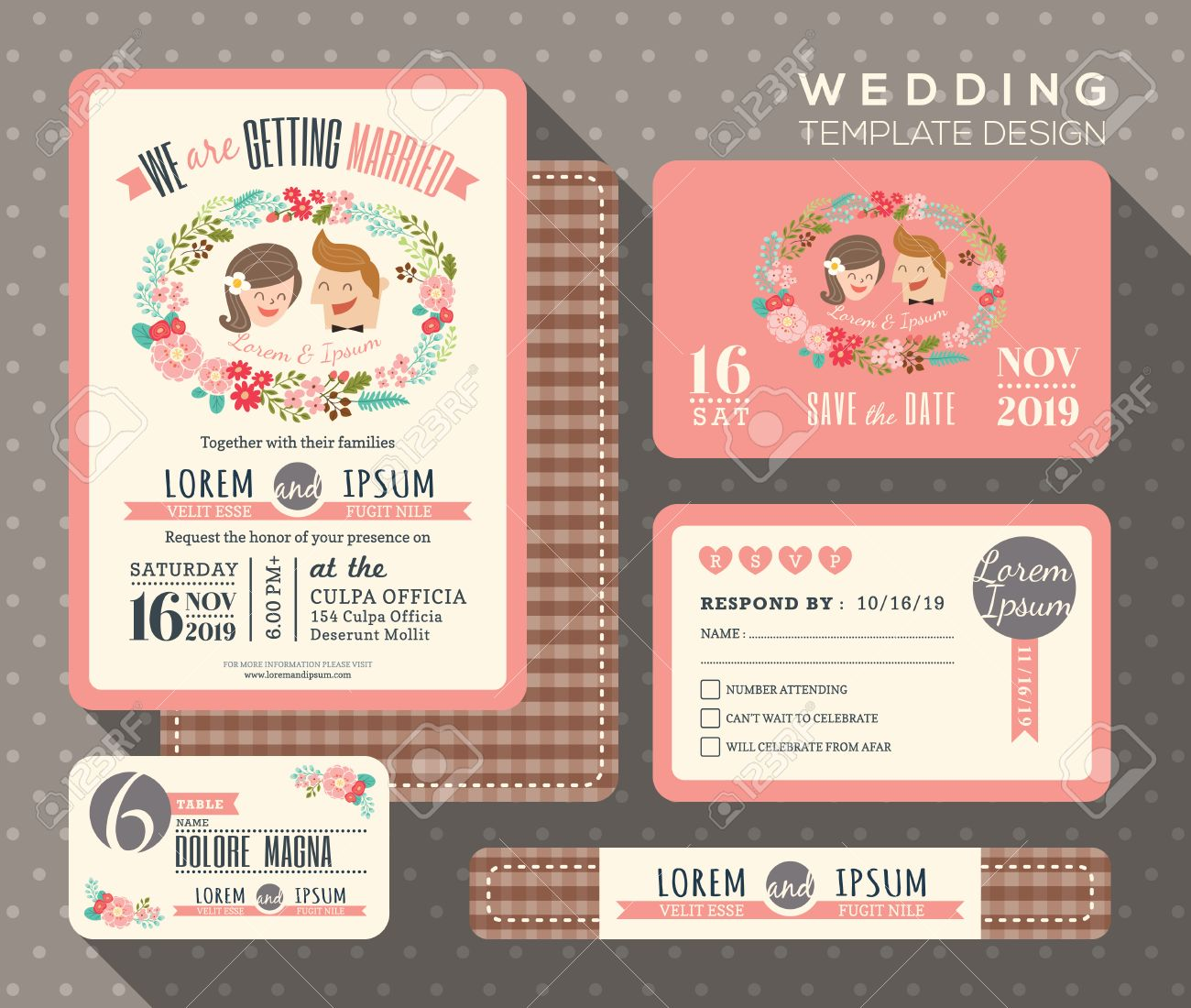 53061937 groom and bride cartoon retro wedding invitation set design Template Vector place card response card Stock Vector groom and bride cartoon retro wedding invitation set design,Invitation And Response Card Set