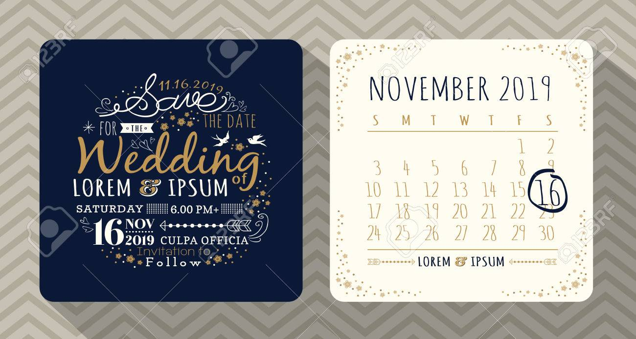 Vintage Typography Wedding Invitation Save The Date Card Royalty ...