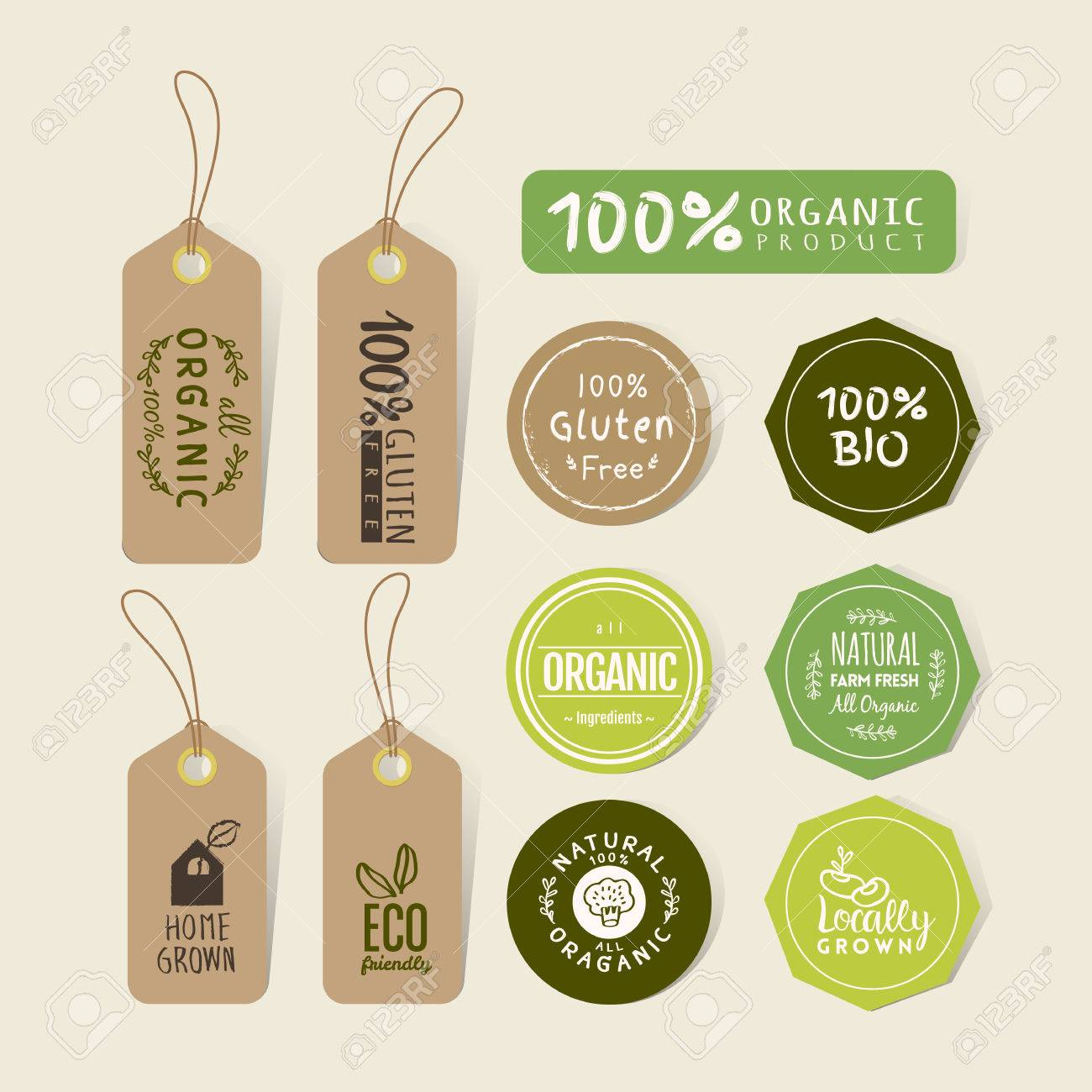 Set of organic food tag and label sticker design elements