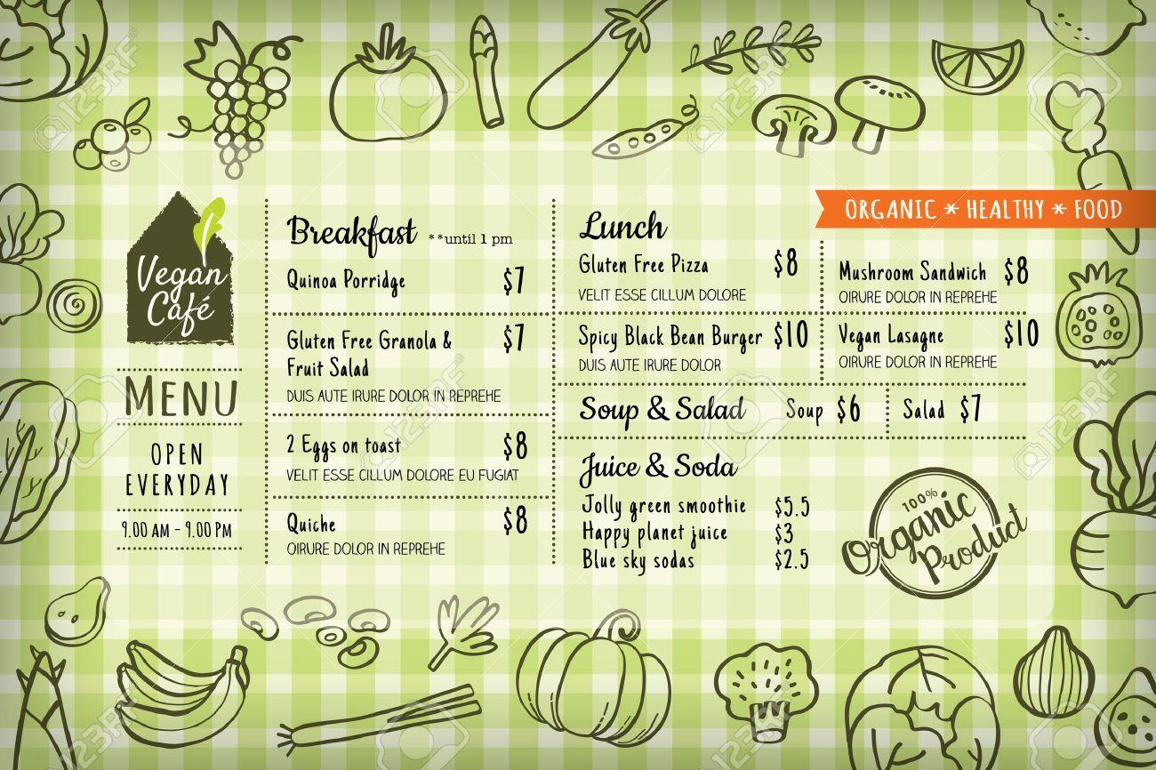organic food vegan restaurant menu board or placemat vector template - 53297595