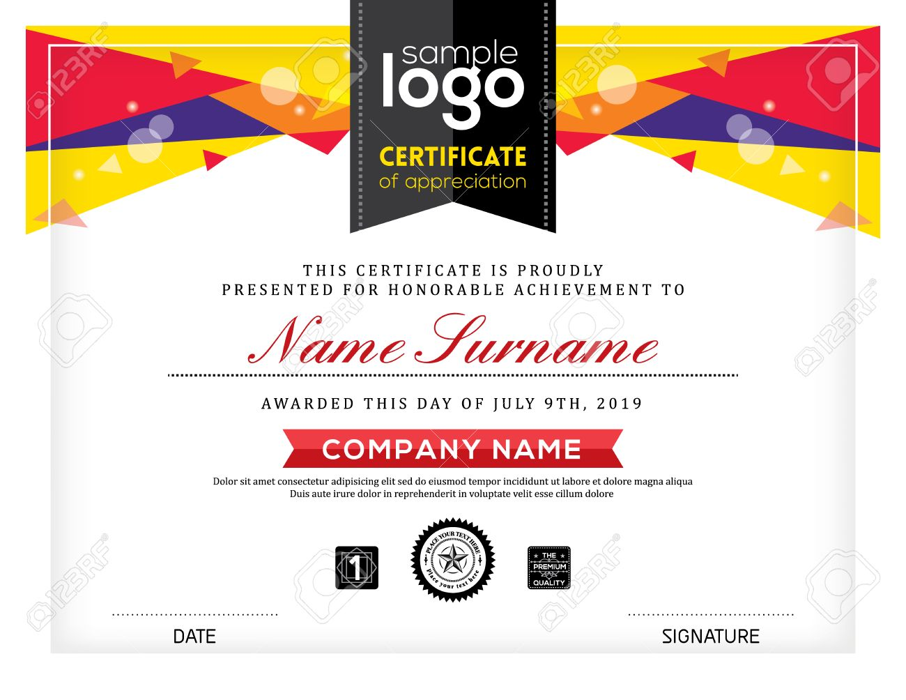 Postmodernism certificate abstract graphic background frame design template - 53297594