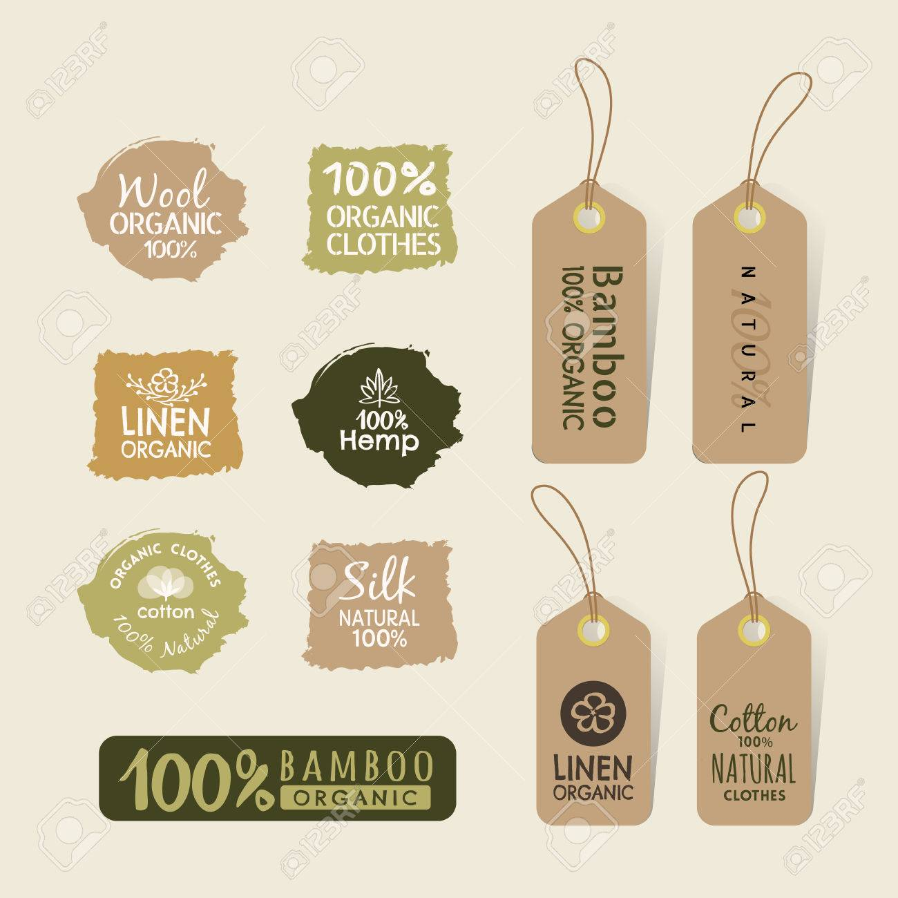 Set of eco friendly fabric tag labels collection design elements - 53790823