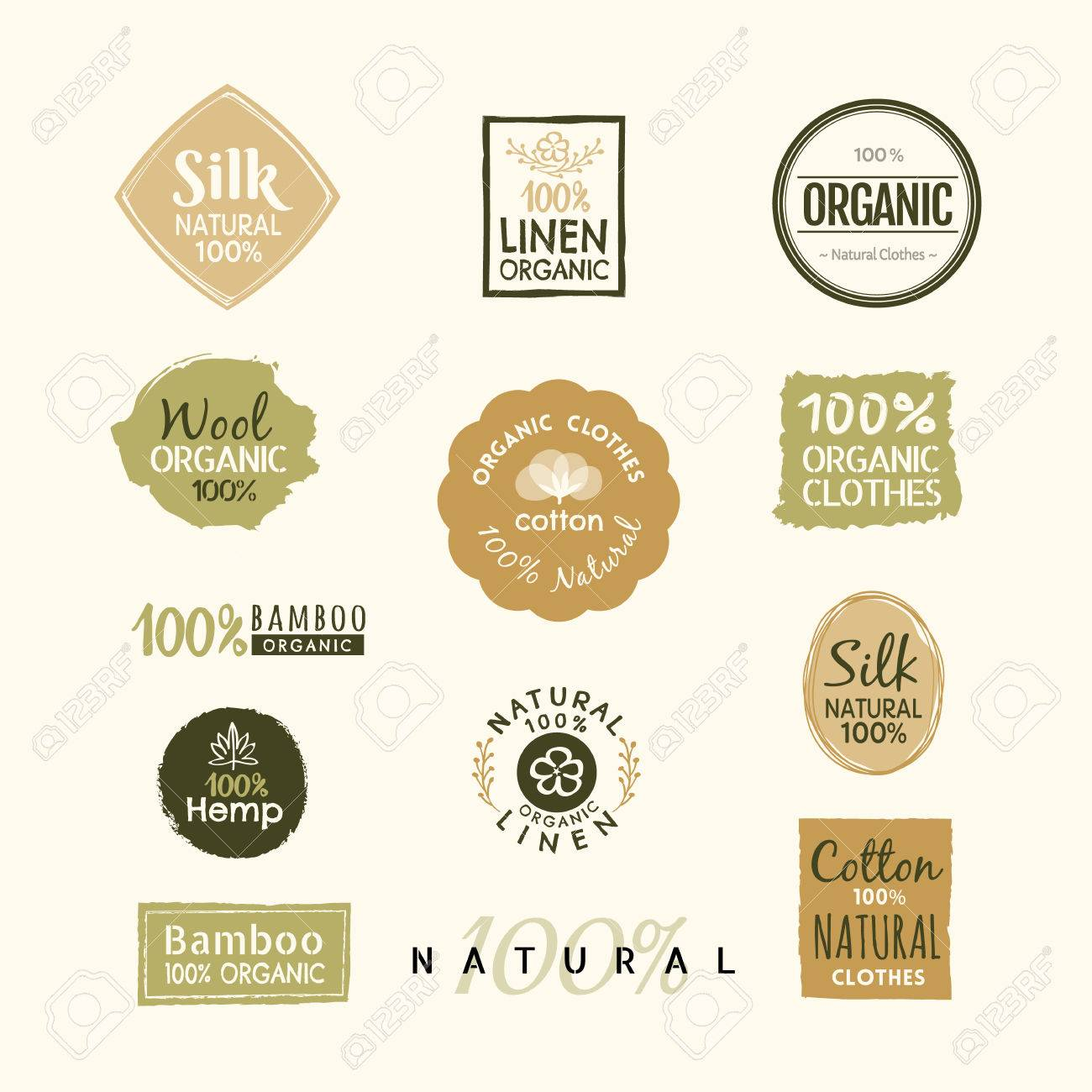 Set of hand drawn organic clothes label badge design vector template - 53790824
