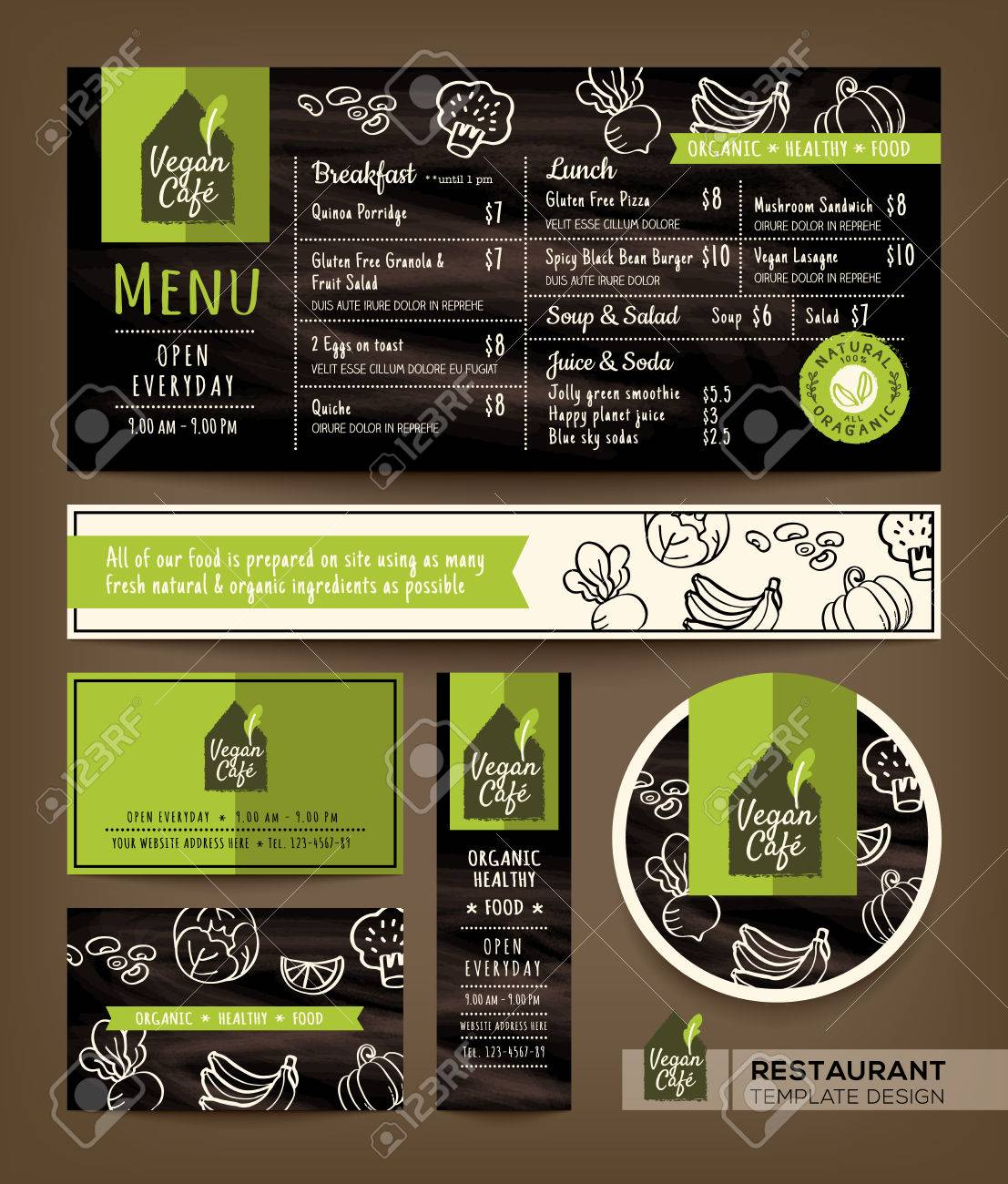 vegetarian and vegan healthy restaurant cafe set menu graphic