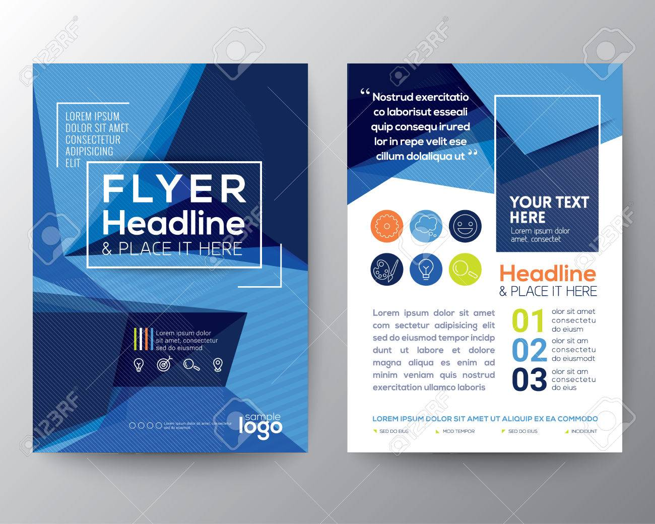 Abstract Blue Triangle shape background for Poster Brochure - 54028830