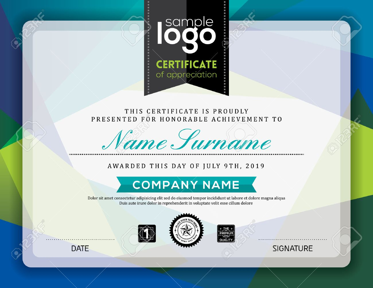 Modern certificate blue and green triangle shape background frame design template - 54416944
